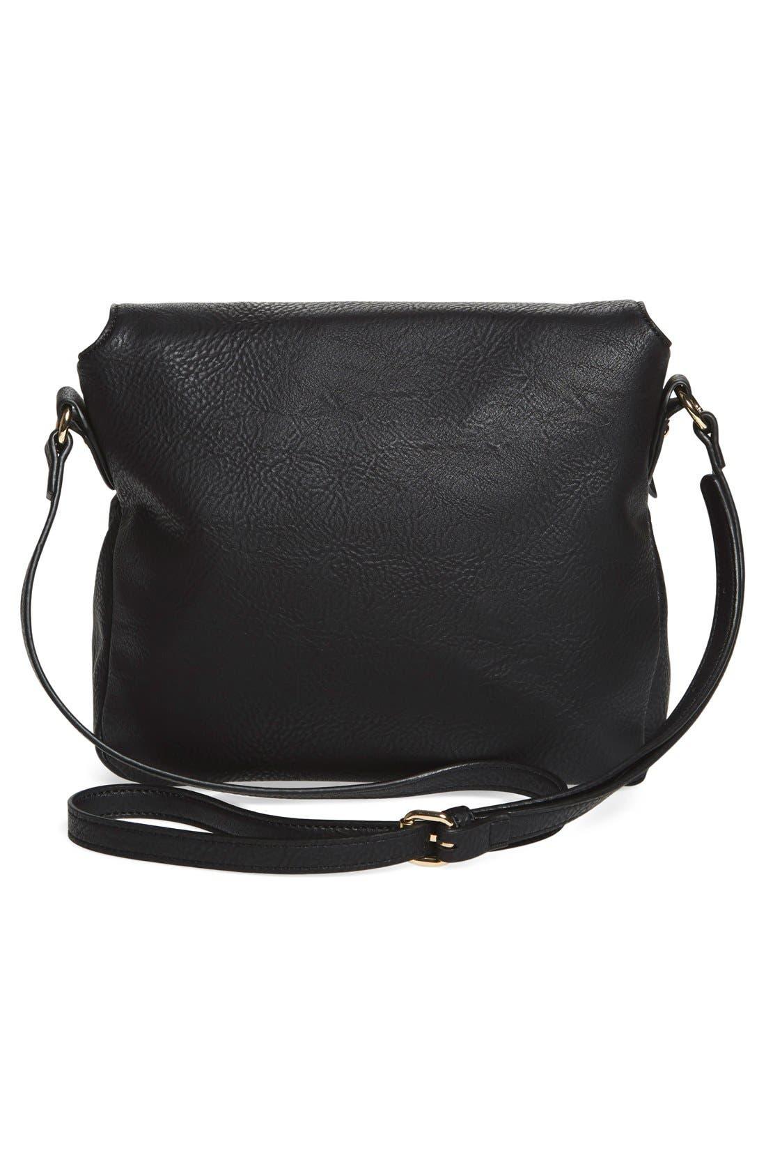 Zip Flap Faux Leather Crossbody Bag,                             Alternate thumbnail 4, color,                             001