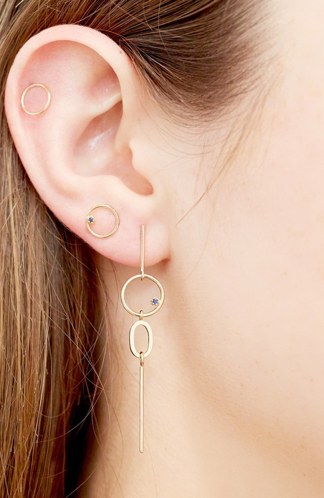 'Stone Bubble' Mismatched Gold & Sapphire Earrings,                             Alternate thumbnail 2, color,