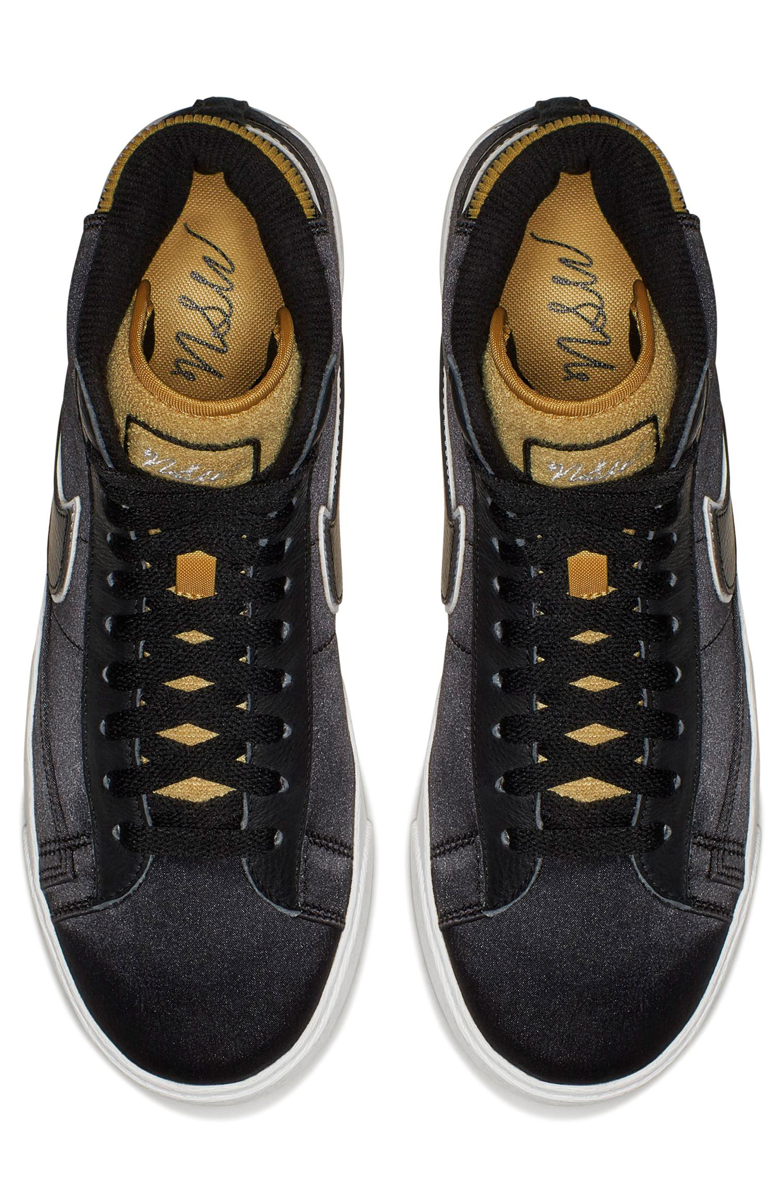 Blazer Mid Top Sneaker,                             Alternate thumbnail 4, color,                             BLACK/ BLACK
