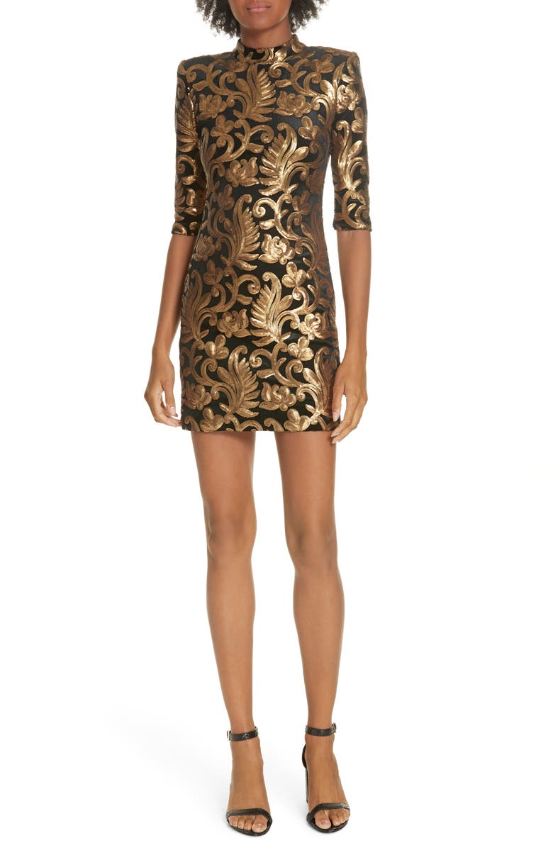 Inka Sequin Flora Dress,                         Main,                         color, BLACK/ GOLD