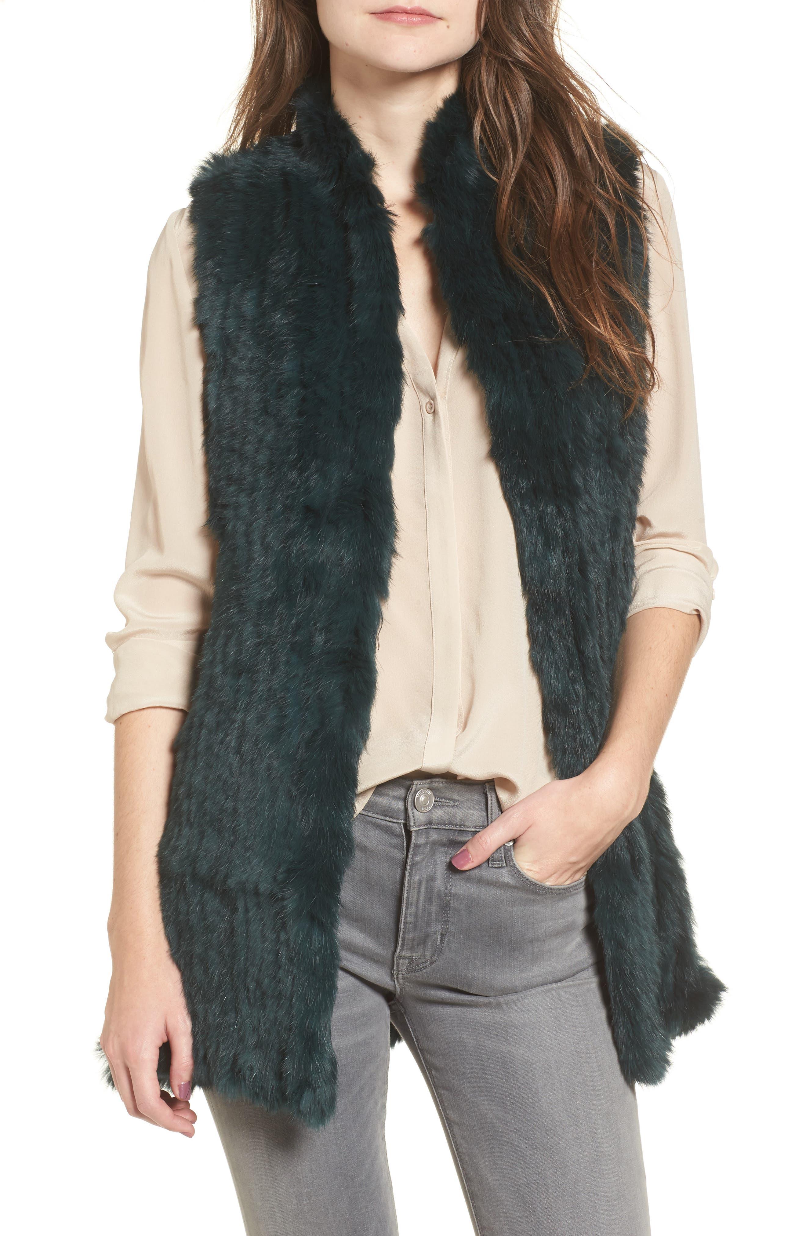 Genuine Rabbit Fur & Knit Vest,                             Main thumbnail 2, color,