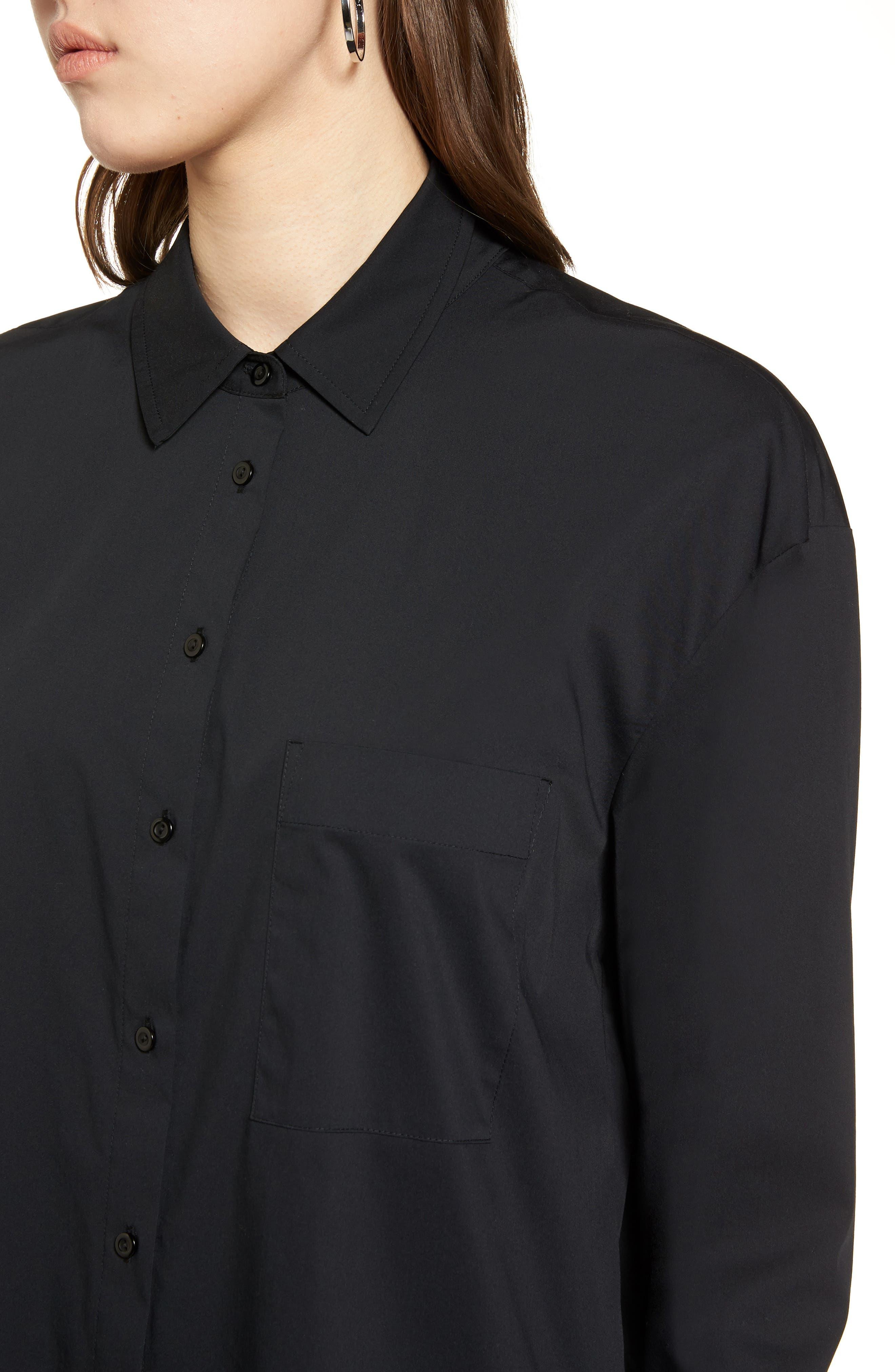 Tie Front Poplin Shirt,                             Alternate thumbnail 4, color,                             001