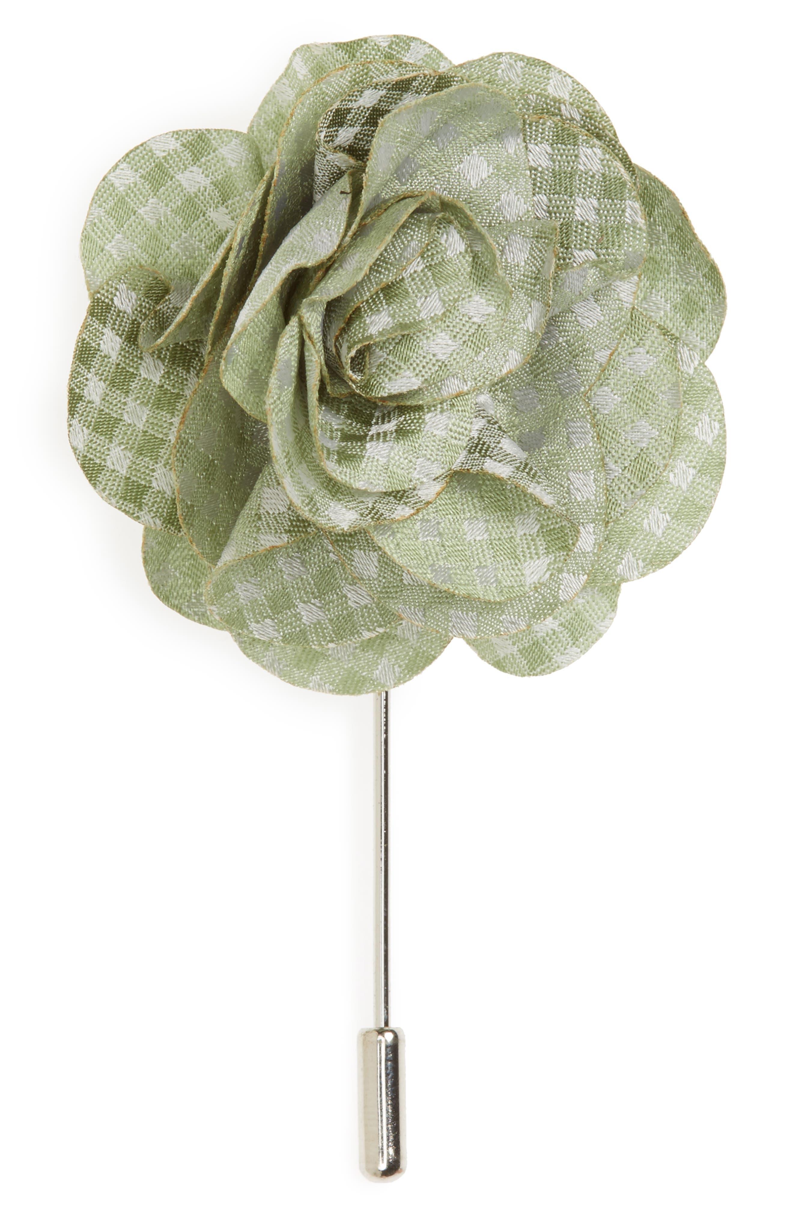 Married Checks Silk Lapel Flower Pin,                             Main thumbnail 1, color,