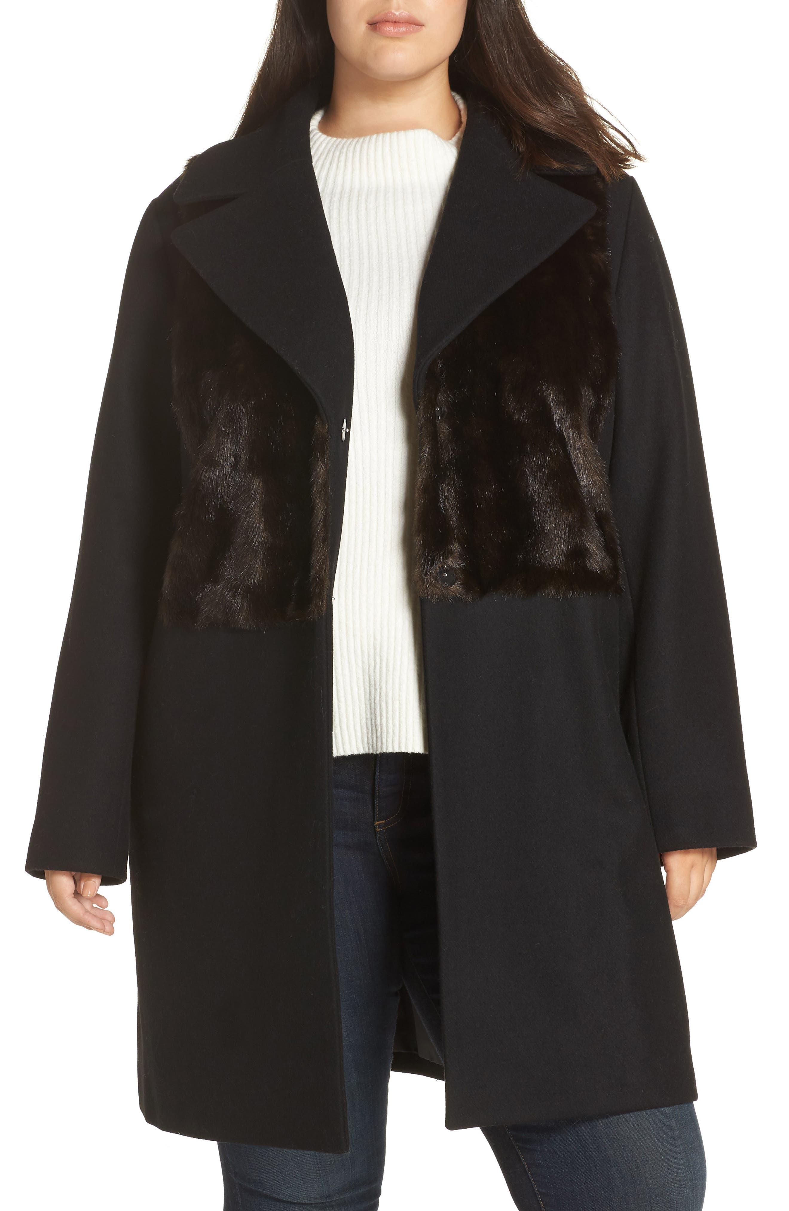 Faux Fur Panel Wool Blend Coat,                         Main,                         color, BLACK