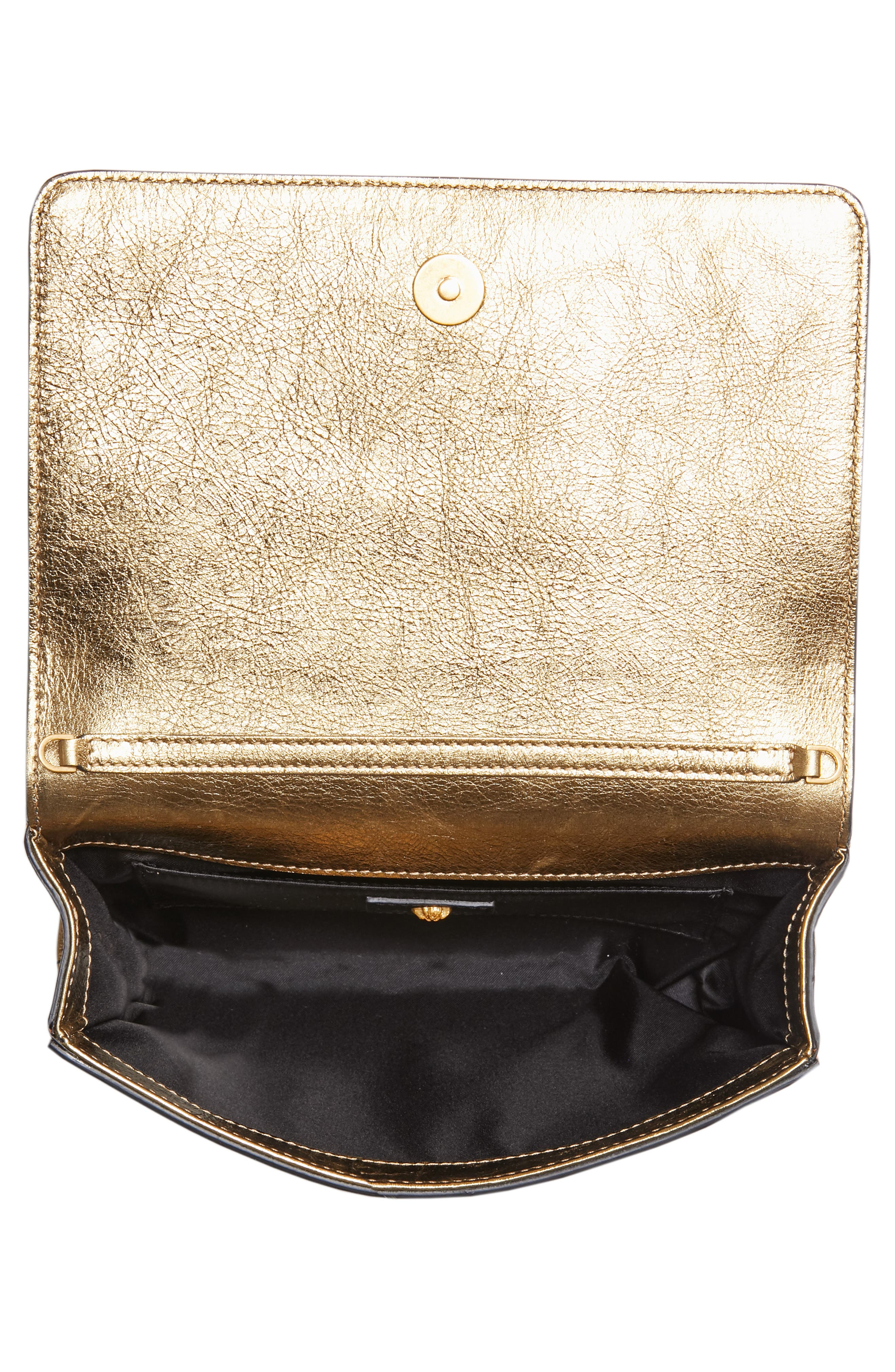 Palazzo Metallic Leather Clutch,                             Alternate thumbnail 4, color,