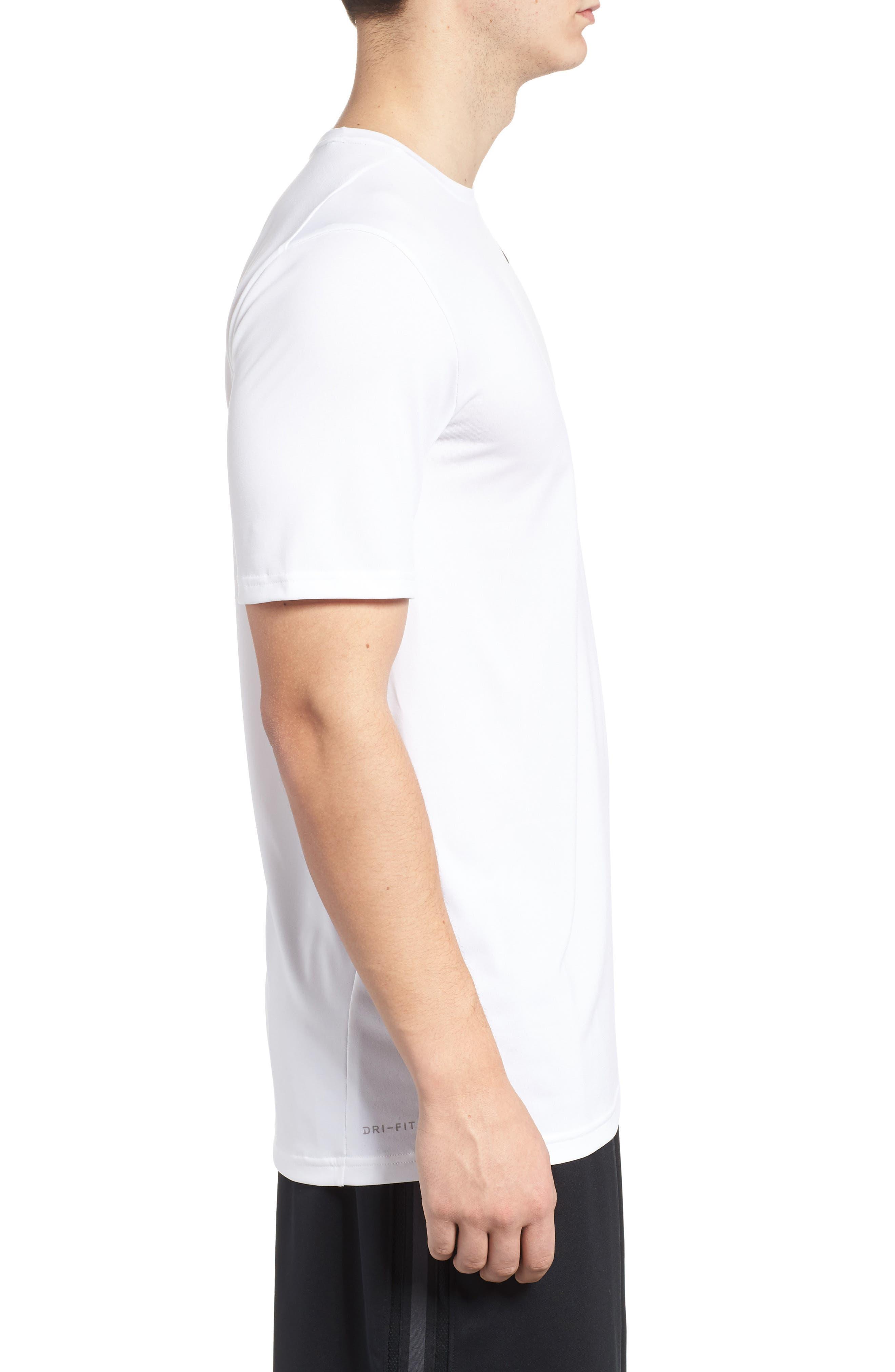 Hyper Dry Training T-Shirt,                             Alternate thumbnail 3, color,                             WHITE/ WHITE/ BLACK
