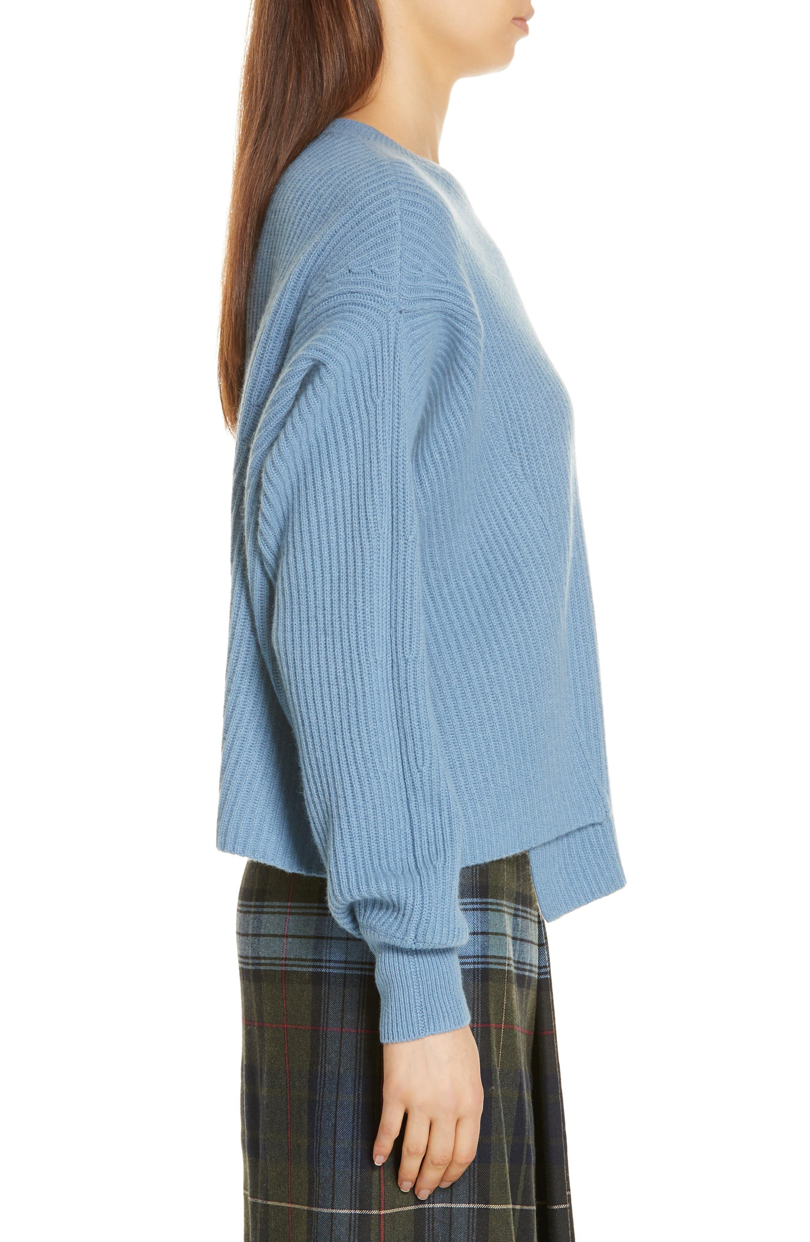 Rib Knit Cashmere Sweater,                             Alternate thumbnail 3, color,                             420