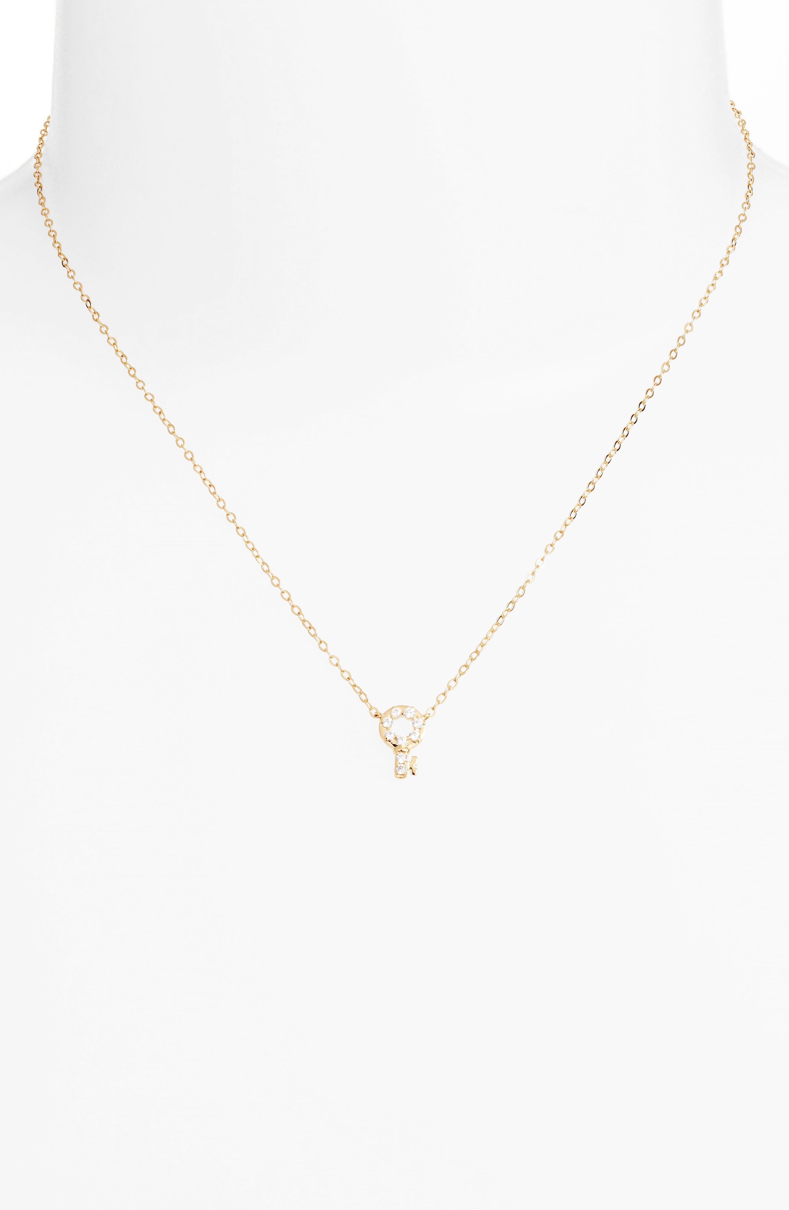 Reminisce Crystal Key Pendant Necklace,                             Alternate thumbnail 4, color,