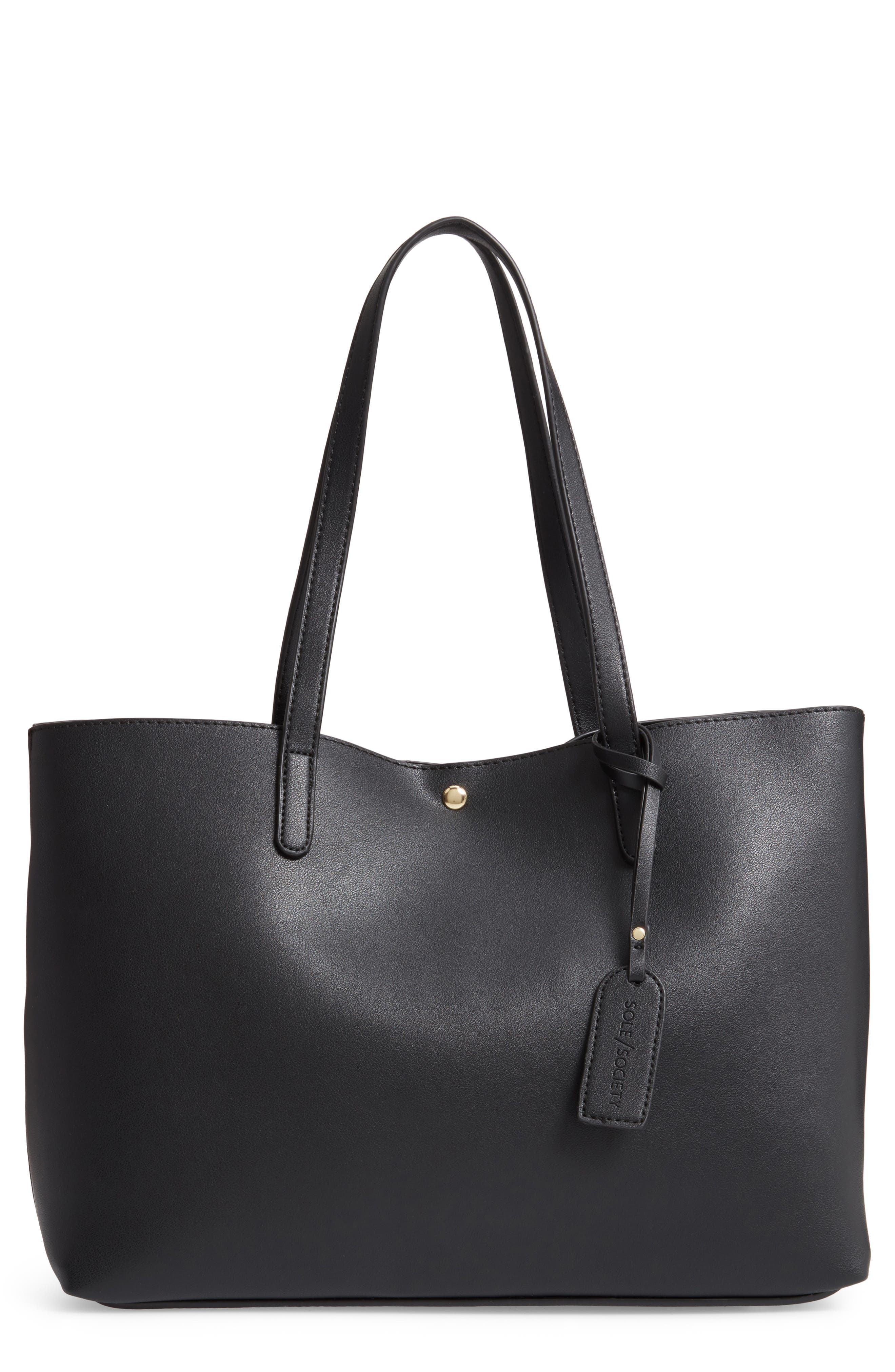 Zeda Faux Leather Tote,                         Main,                         color, BLACK