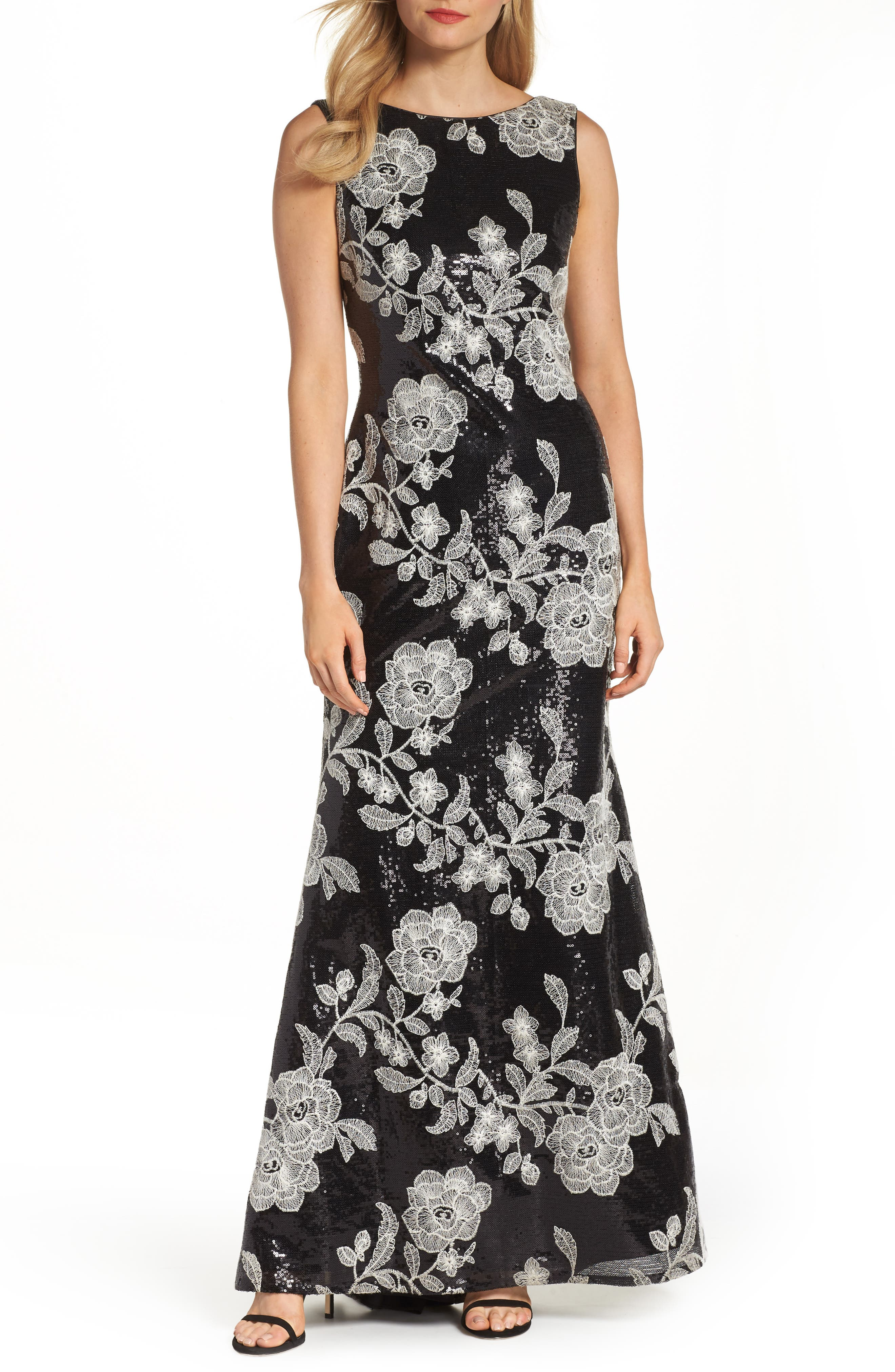 Embroidered Gown,                         Main,                         color, BLACK