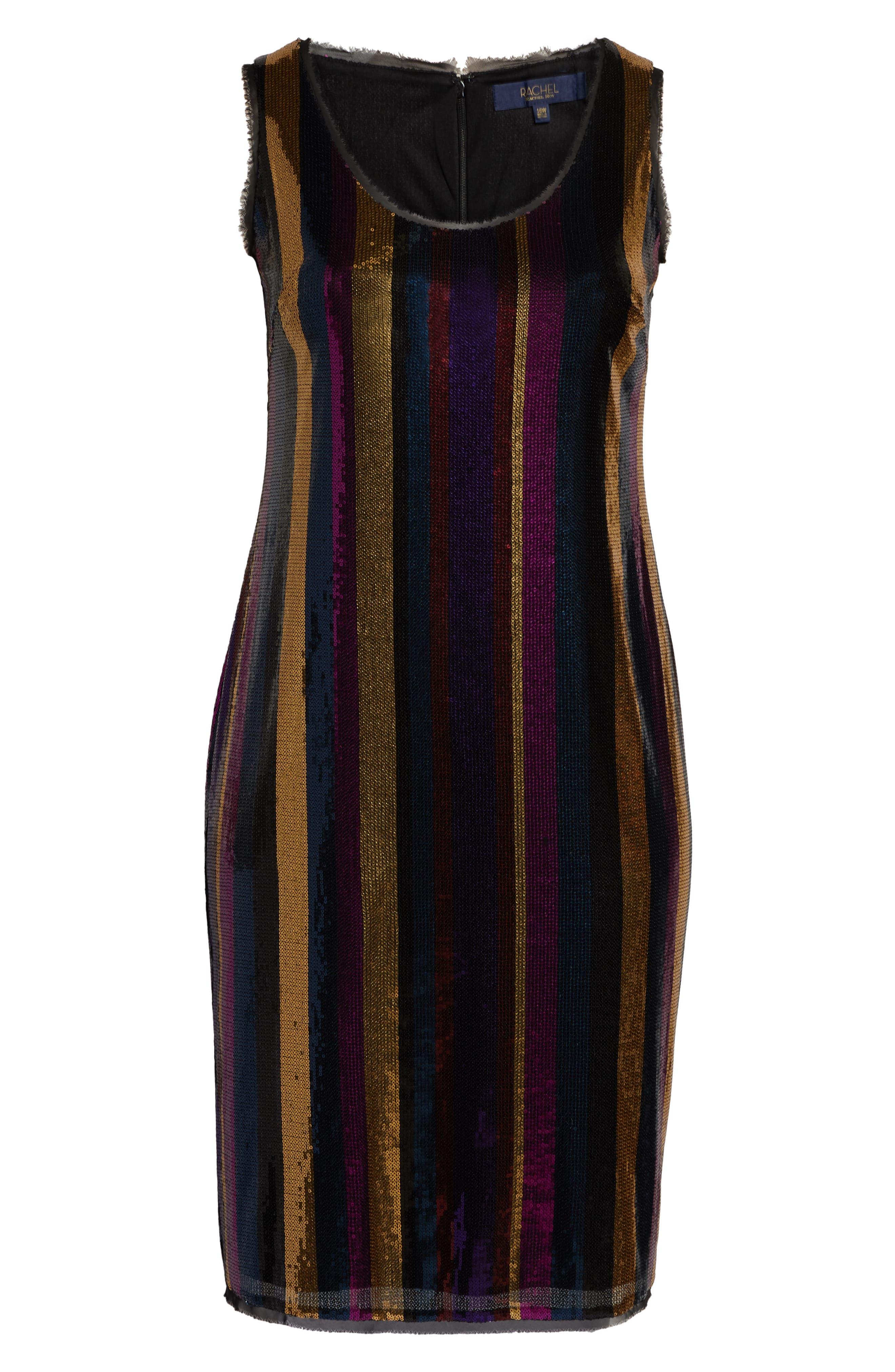 Veda Sequin Stripe Dress,                             Alternate thumbnail 7, color,                             MULTI COLOR COMBO