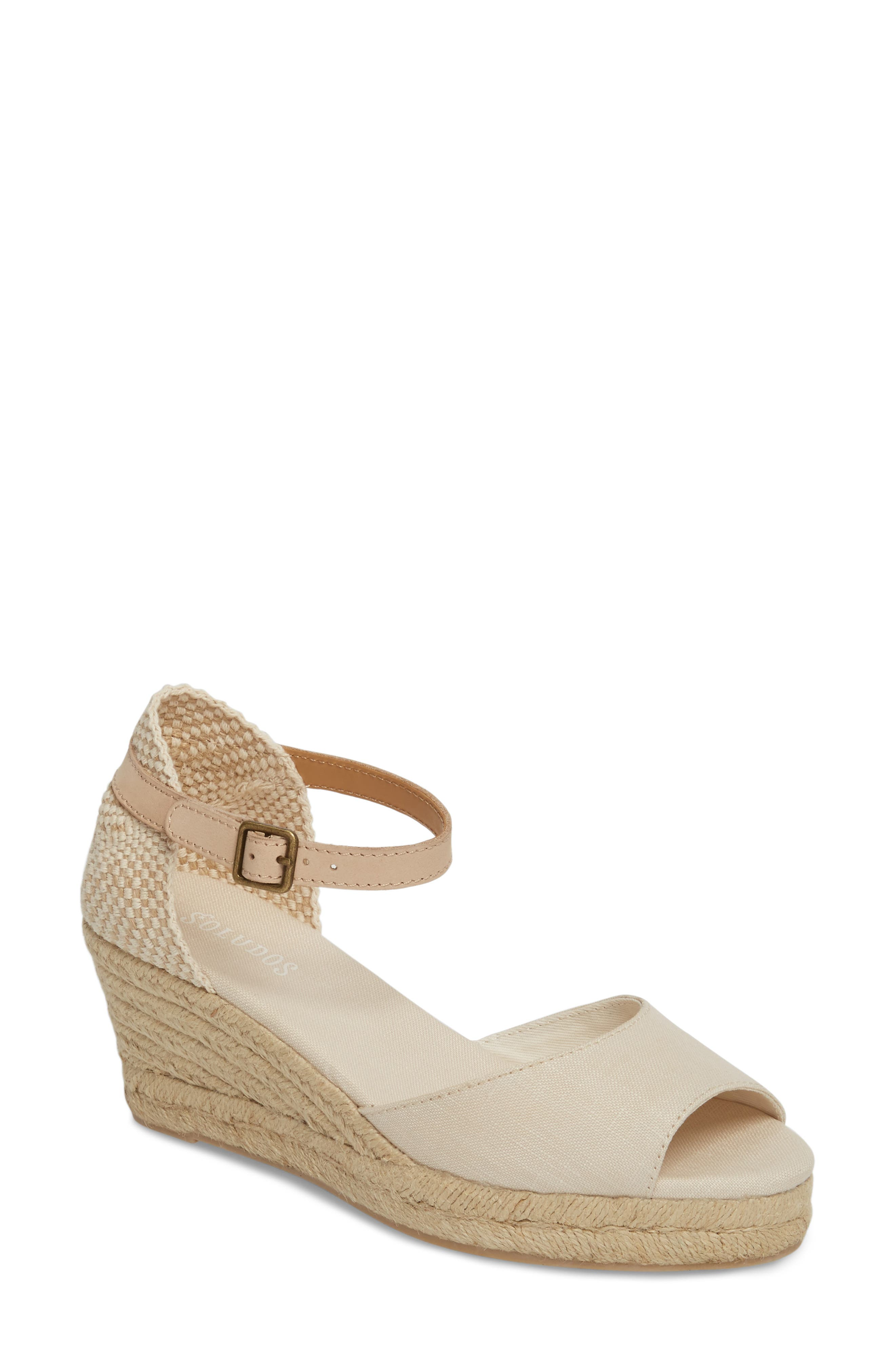 Espadrille Wedge Sandal,                         Main,                         color, BLUSH FABRIC