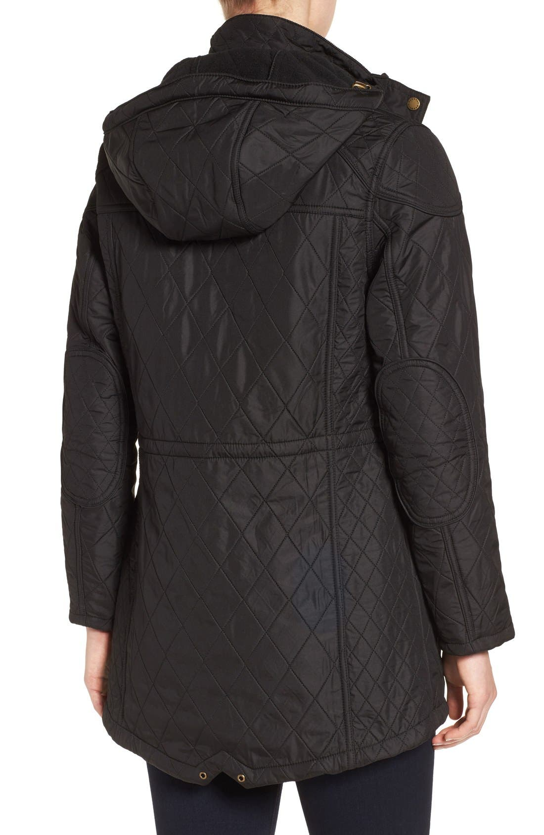 'Arrow' Quilted Anorak,                             Alternate thumbnail 3, color,                             BLACK