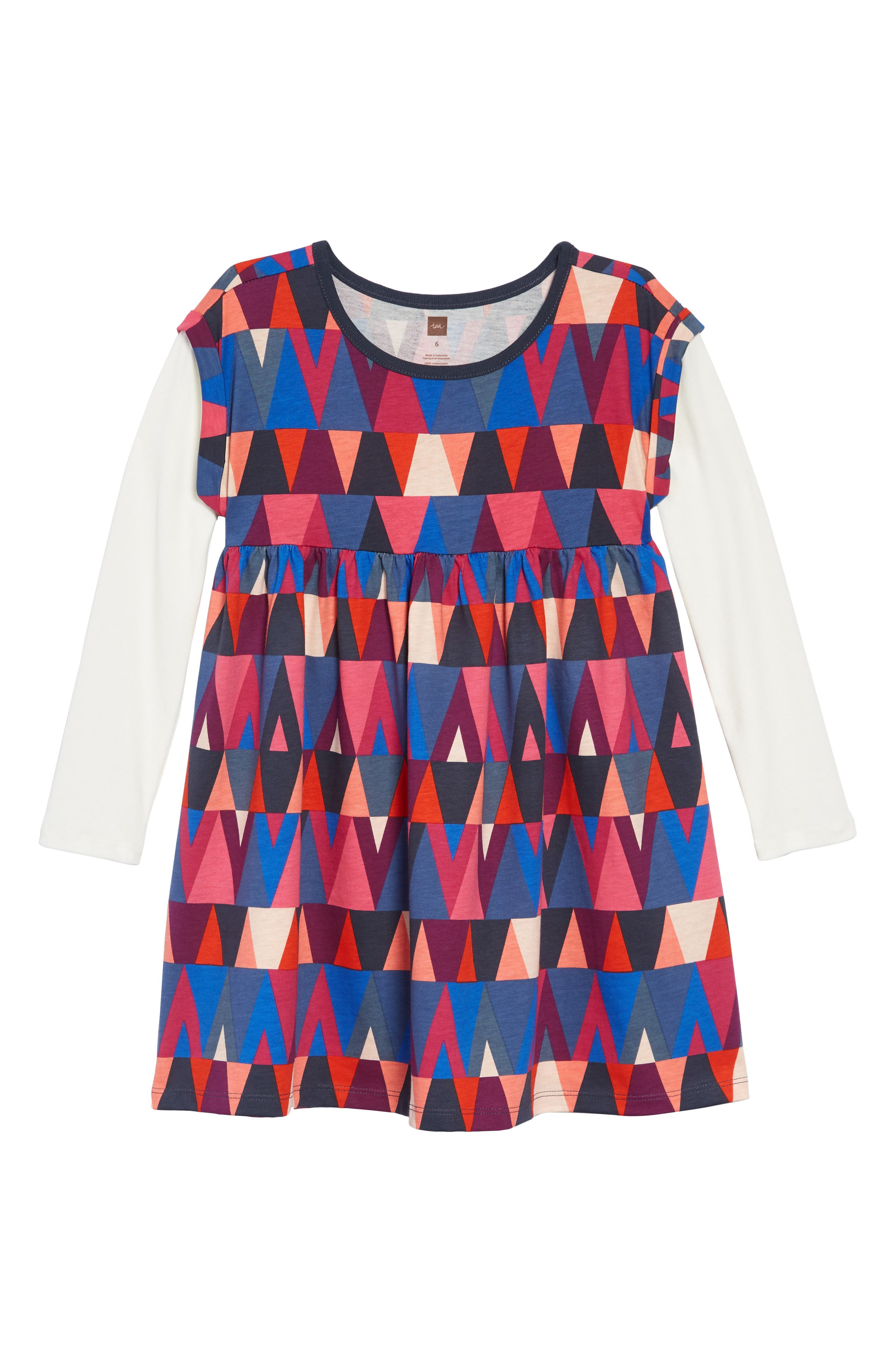 Print Layered Sleeve Dress,                         Main,                         color, GIBSON GEO