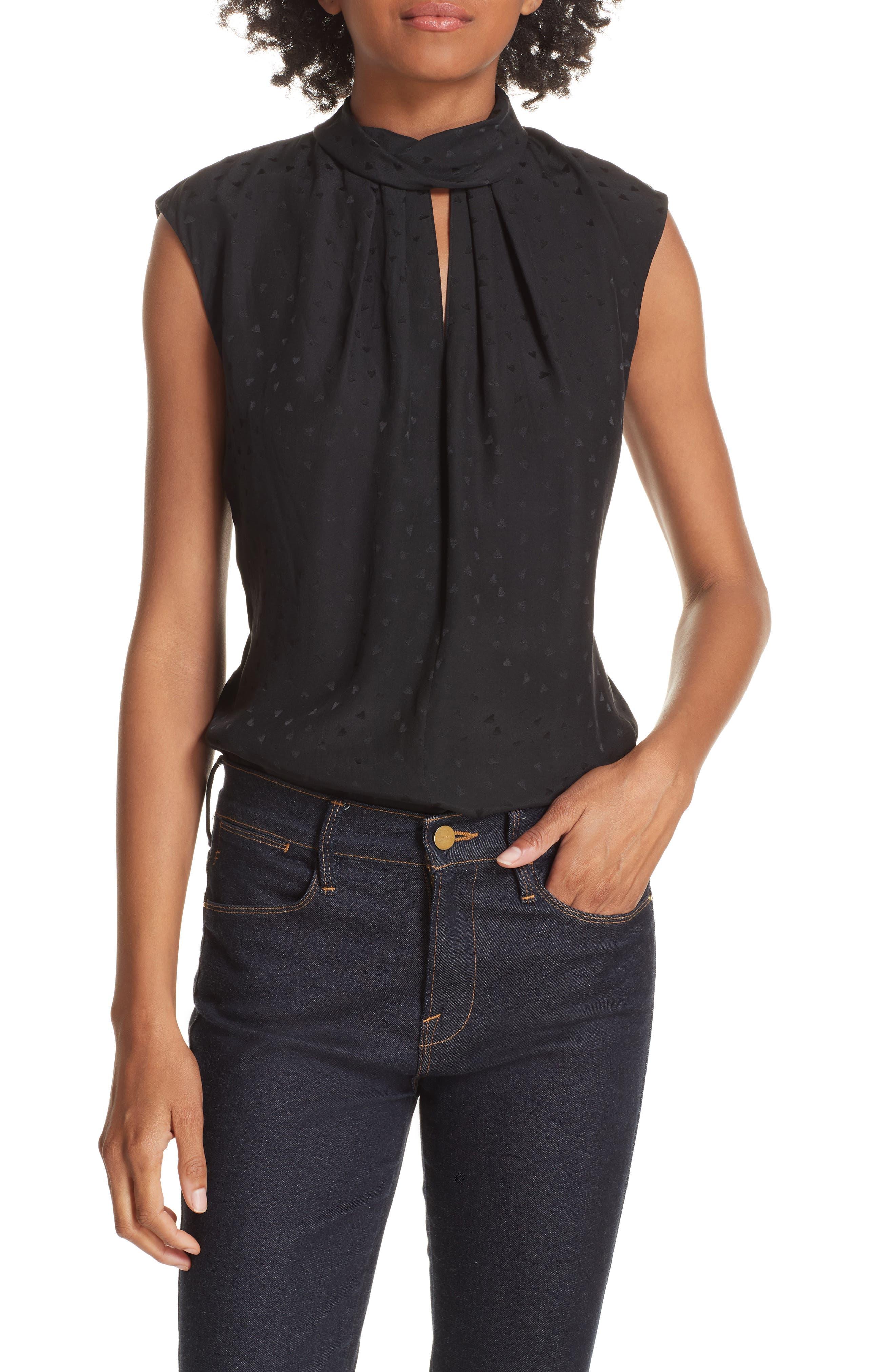 Sleeveless Silk Jacquard Top,                         Main,                         color, BLACK