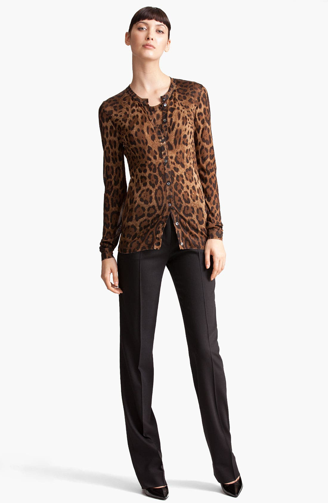 Leopard Print Cardigan,                             Alternate thumbnail 3, color,                             201