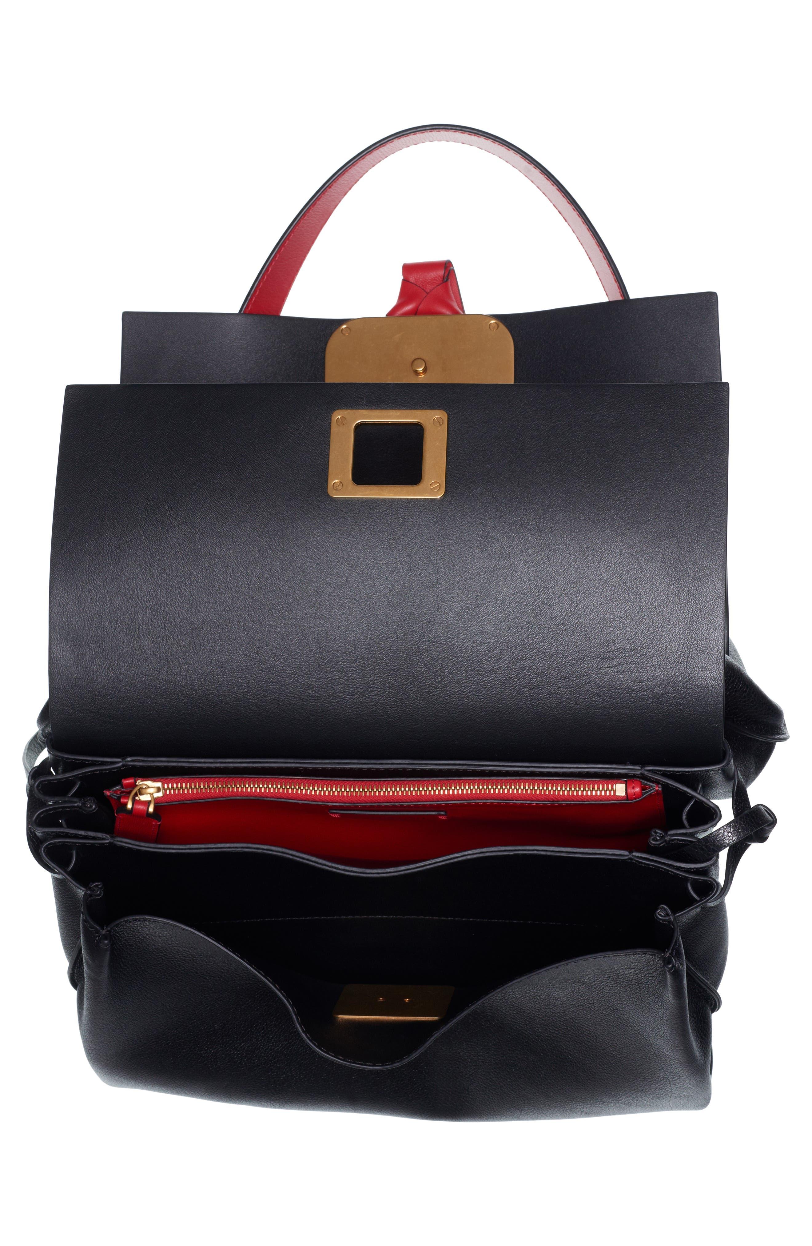 Medium V-Ring Leather Shoulder Bag,                             Alternate thumbnail 3, color,                             ROUGE PUR-CERISE/ NERO