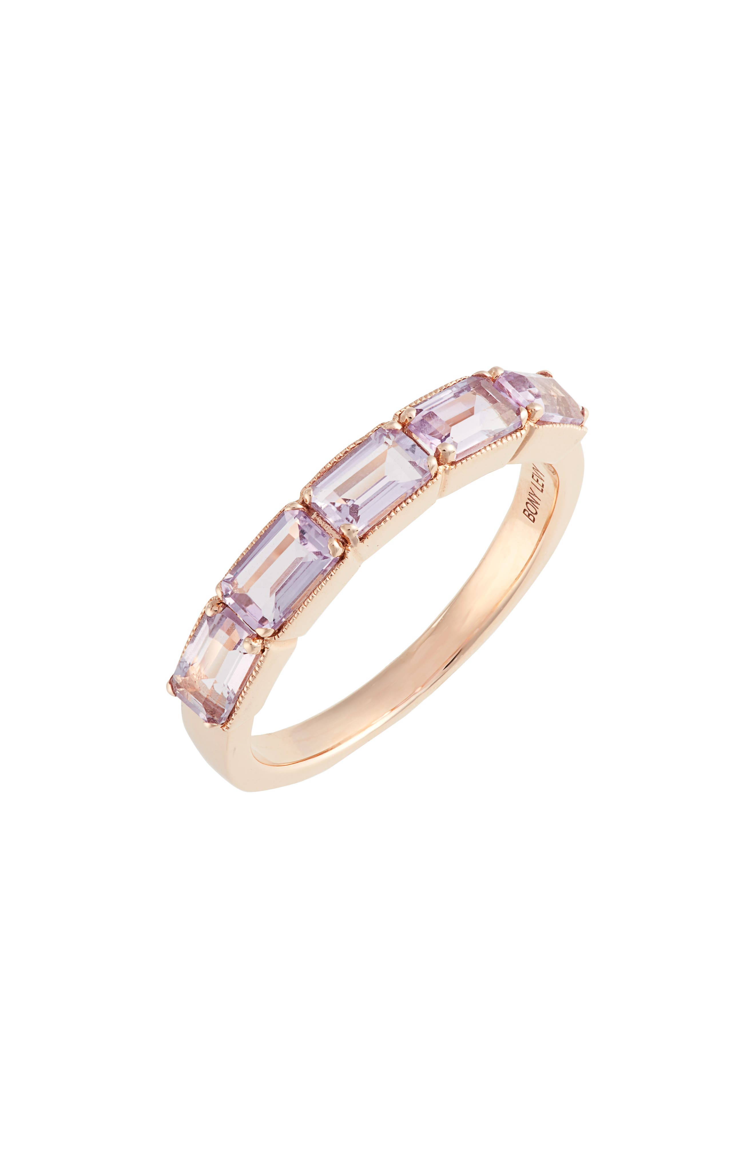 Purple Amethyst Baguette Stack Ring,                             Main thumbnail 1, color,                             AMETHYST/ ROSE GOLD