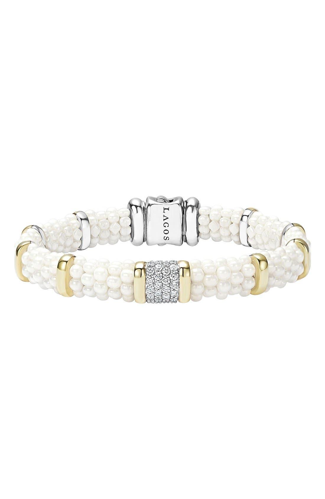 'White Caviar' Diamond Station Bracelet,                             Main thumbnail 1, color,                             100