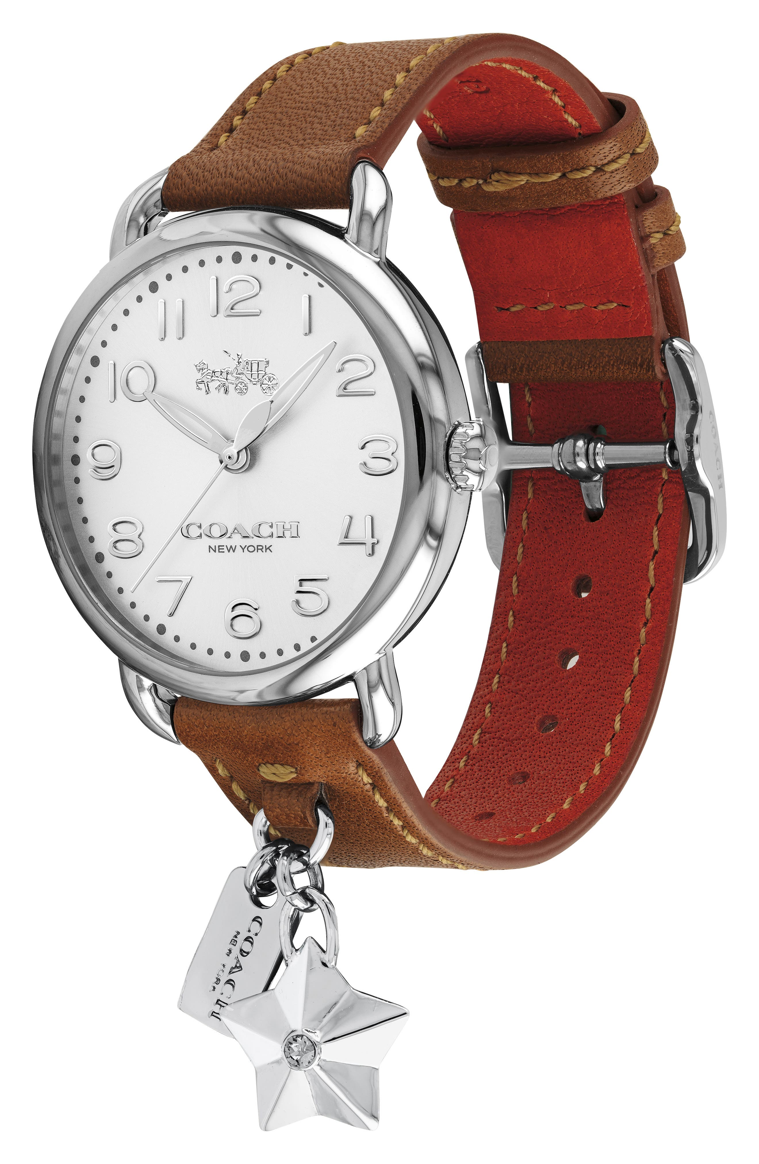 Delancey Charm Detail Leather Strap Watch, 36mm,                             Alternate thumbnail 3, color,                             BROWN/ SILVER