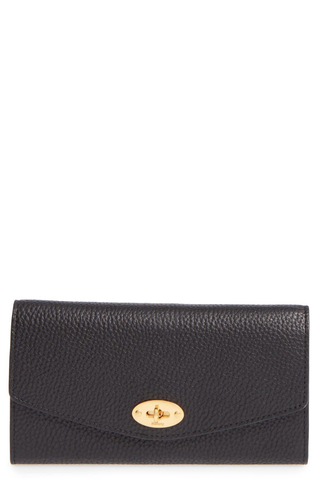 'Postman's Lock' Leather Wallet,                             Main thumbnail 1, color,                             BLACK