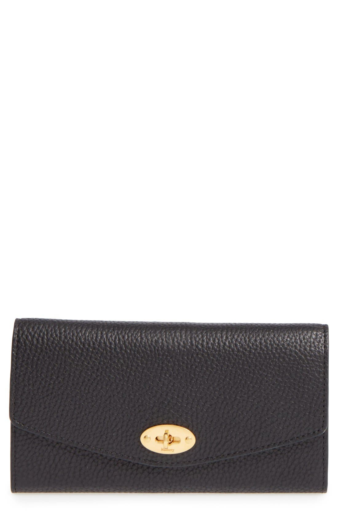 'Postman's Lock' Leather Wallet,                         Main,                         color, BLACK
