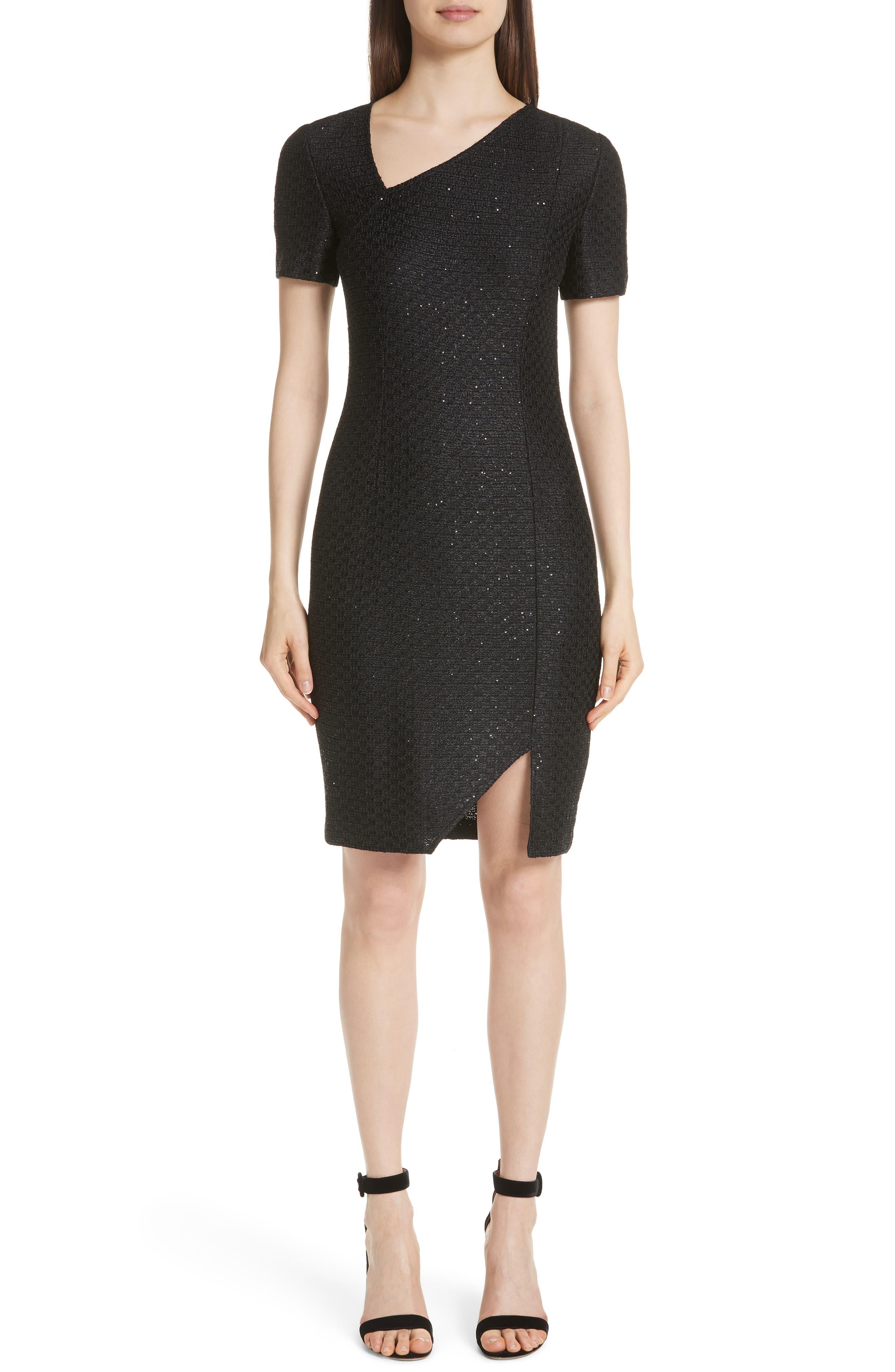 Shimmer Sequin Knit Asymmetrical Dress,                         Main,                         color, CAVIAR