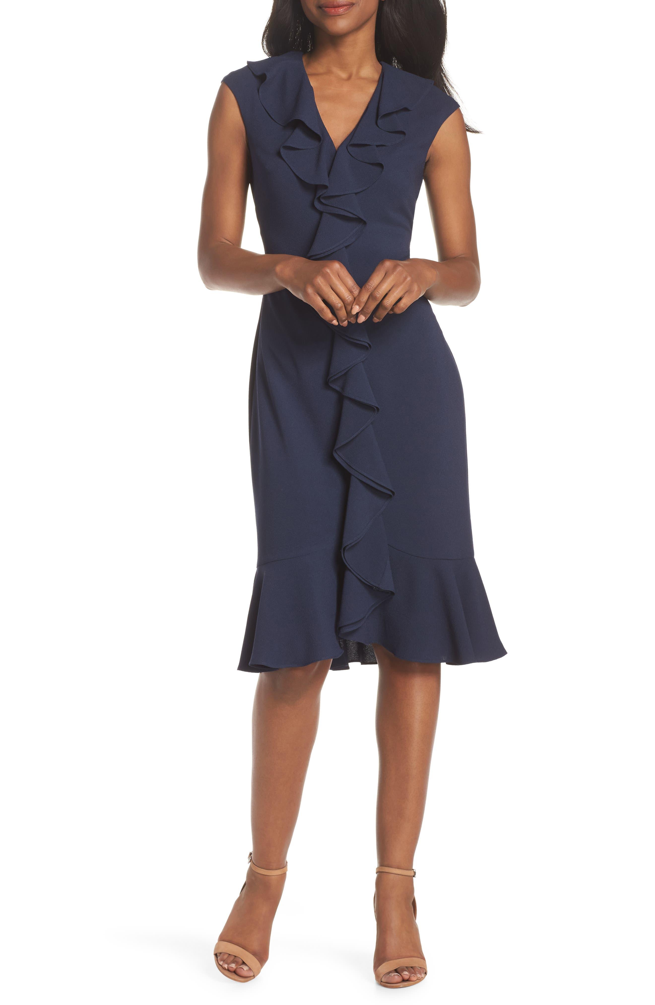 petite women's maggy london crepe ruffle front sheath dress, size 10p - blue