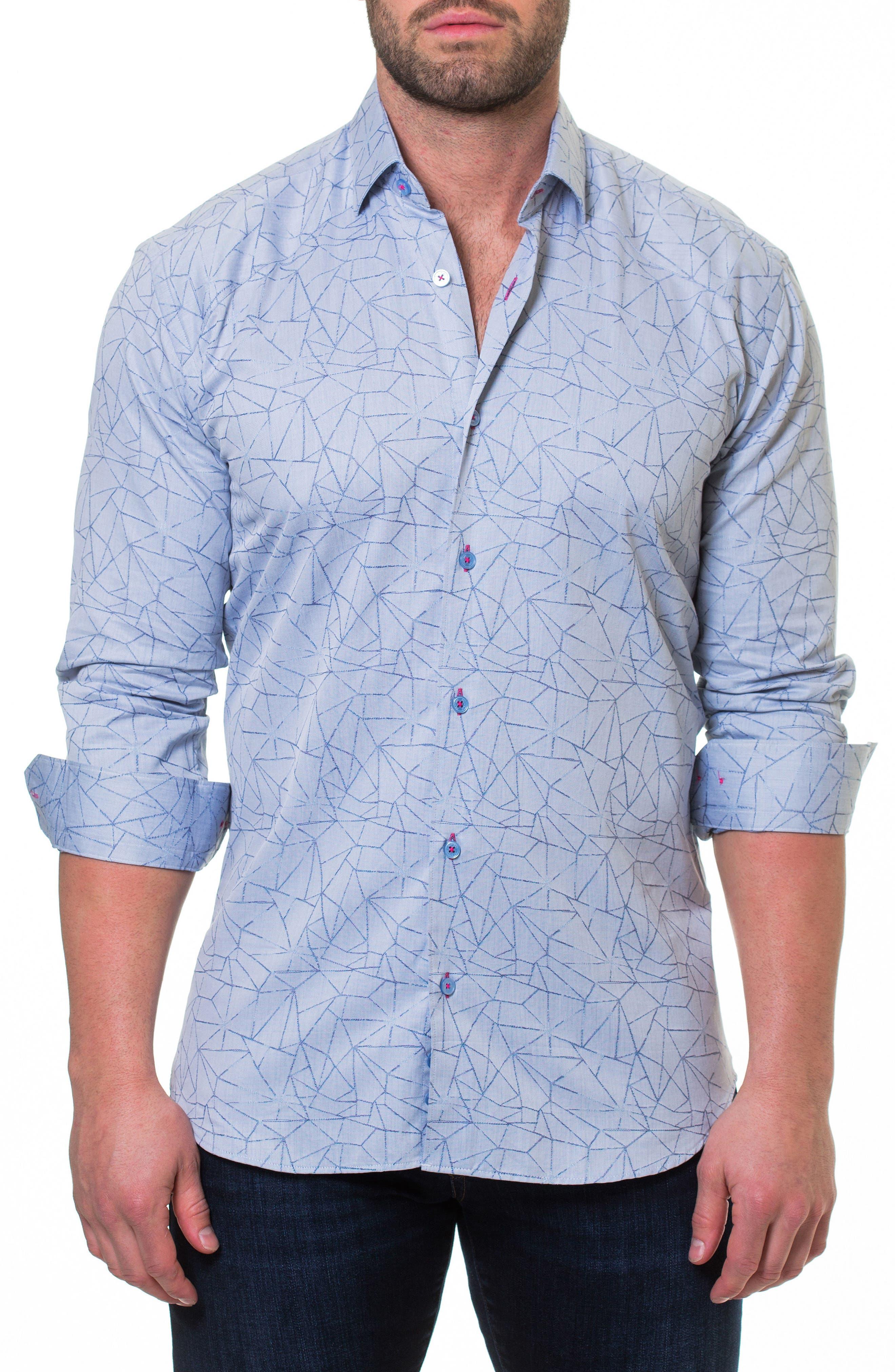 Wall Street Dimension Print Sport Shirt,                         Main,                         color, 030