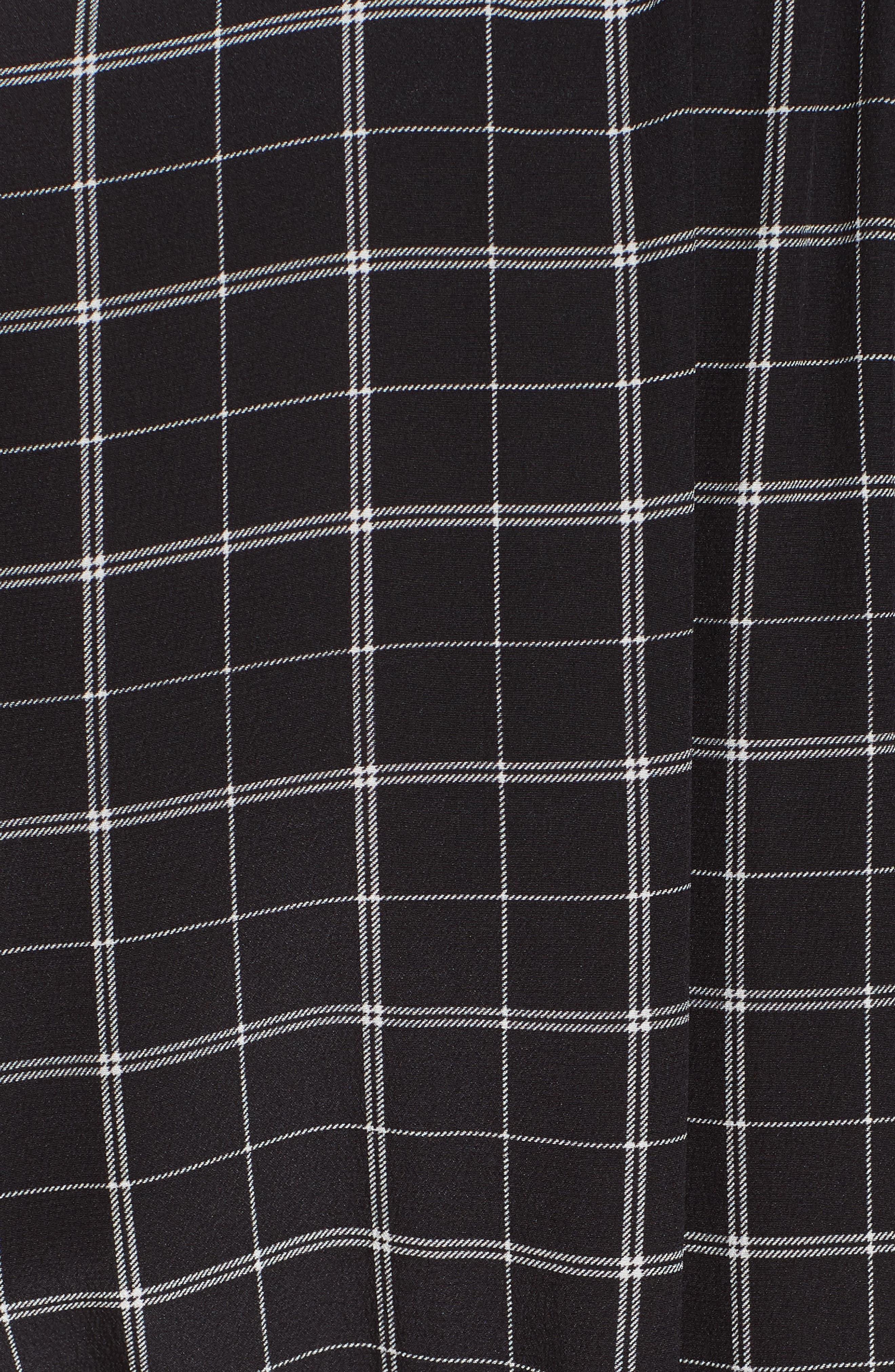 Plaid Silk Jumpsuit,                             Alternate thumbnail 5, color,                             BLACK