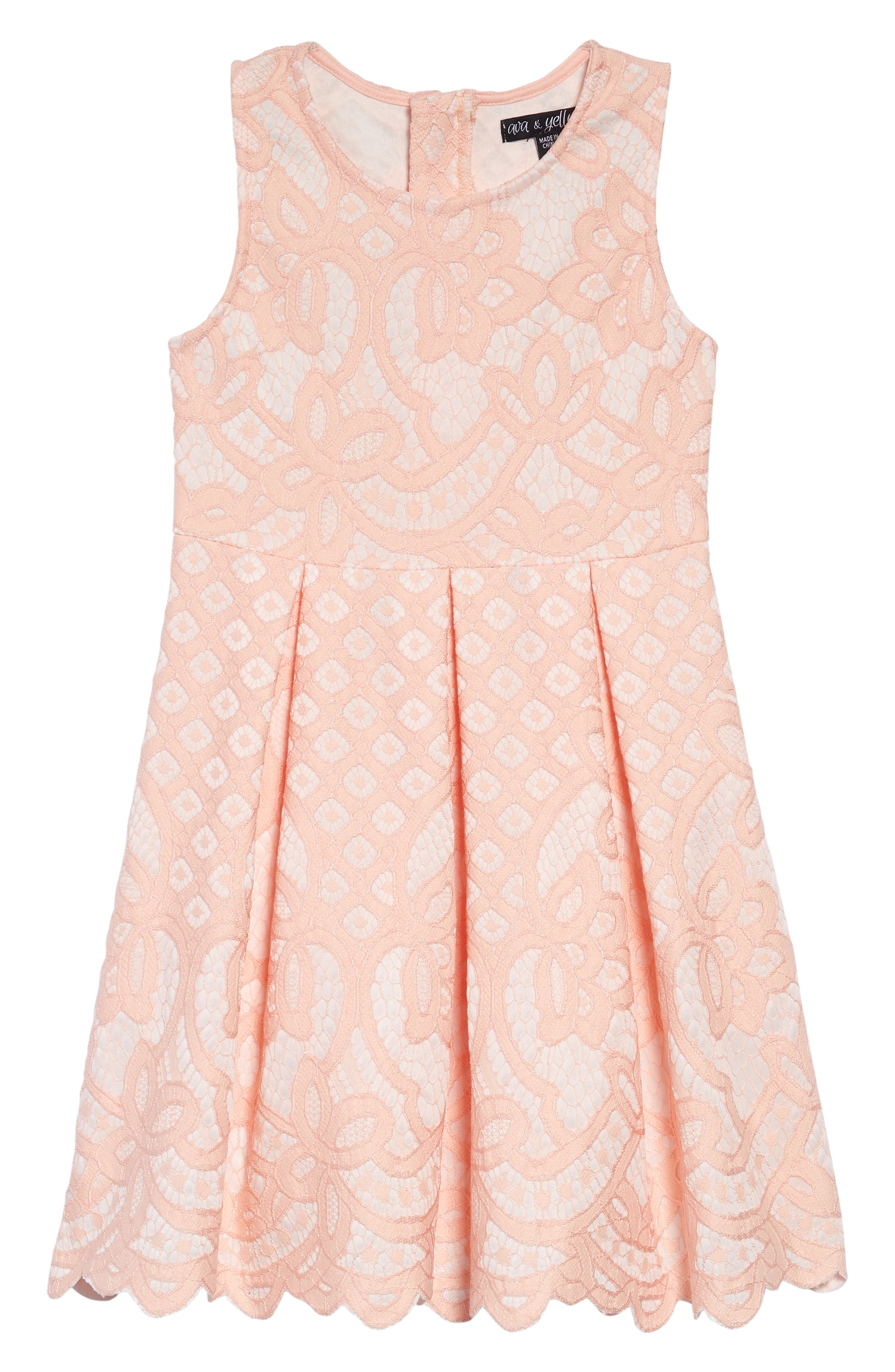 Two Tone Lace Dress,                             Main thumbnail 1, color,                             BLUSH