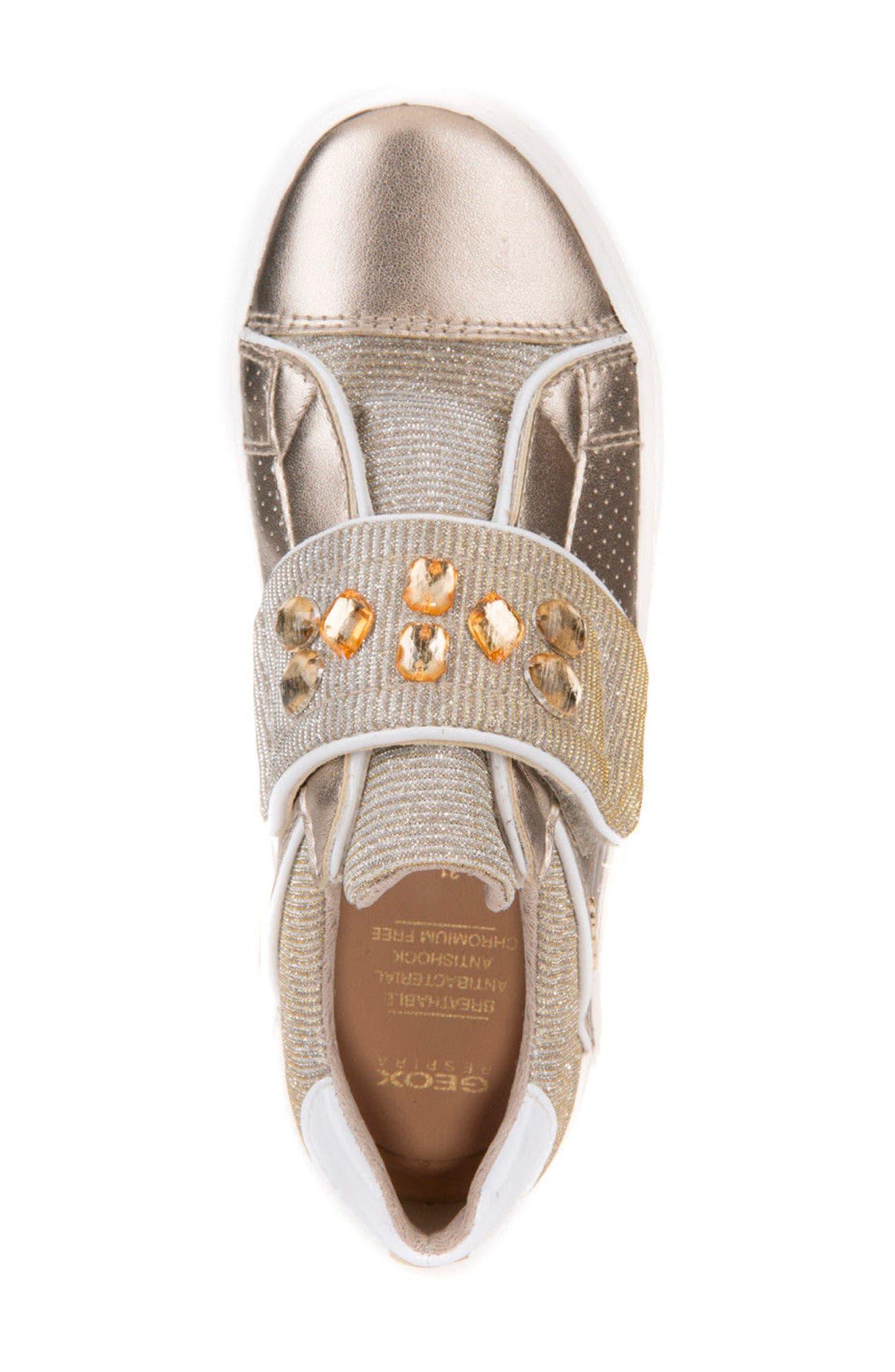 Kilwi Metallic Embellished Sneaker,                             Alternate thumbnail 5, color,                             GOLD