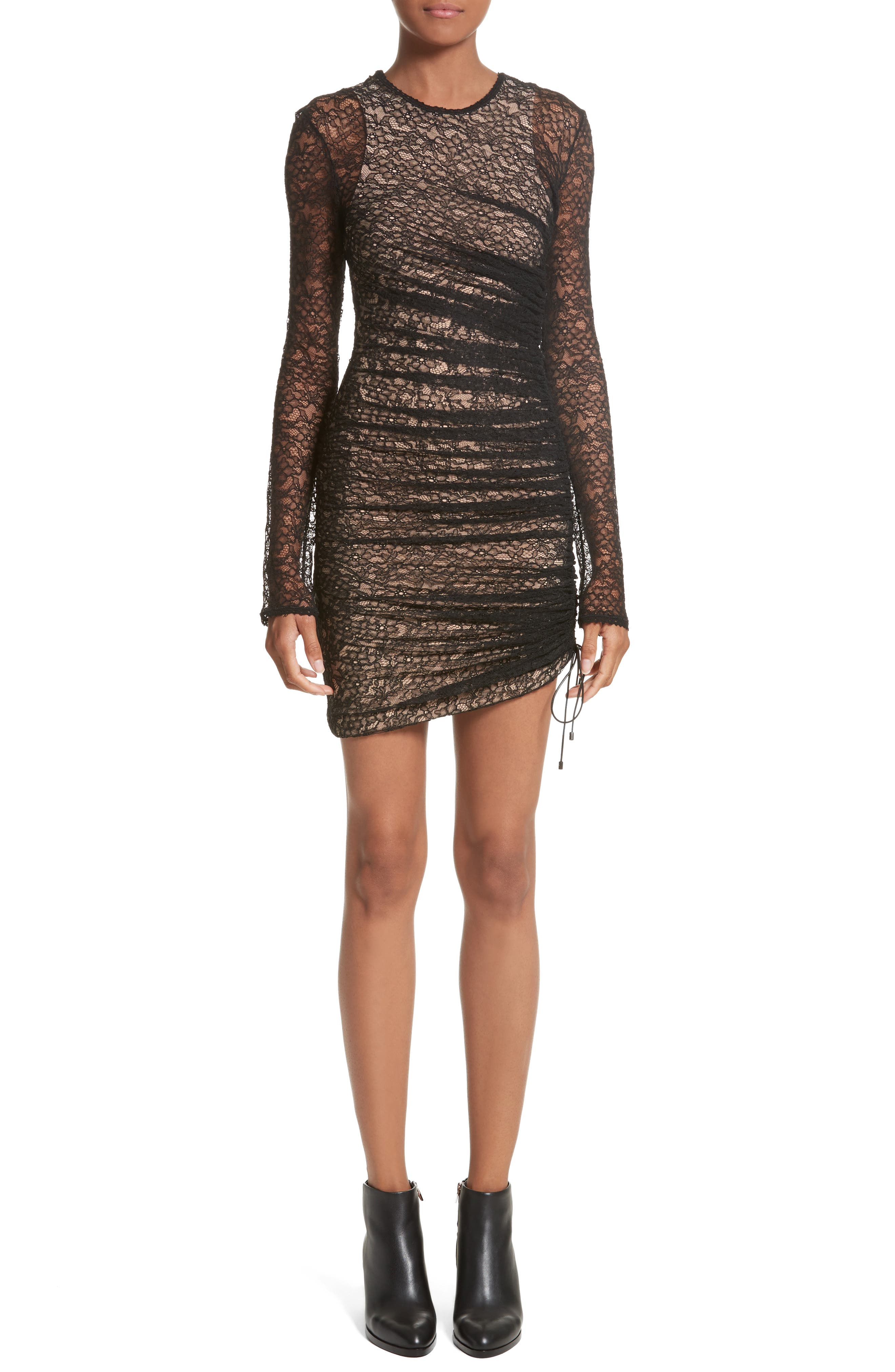 Ruched Lace Dress,                             Main thumbnail 1, color,                             001