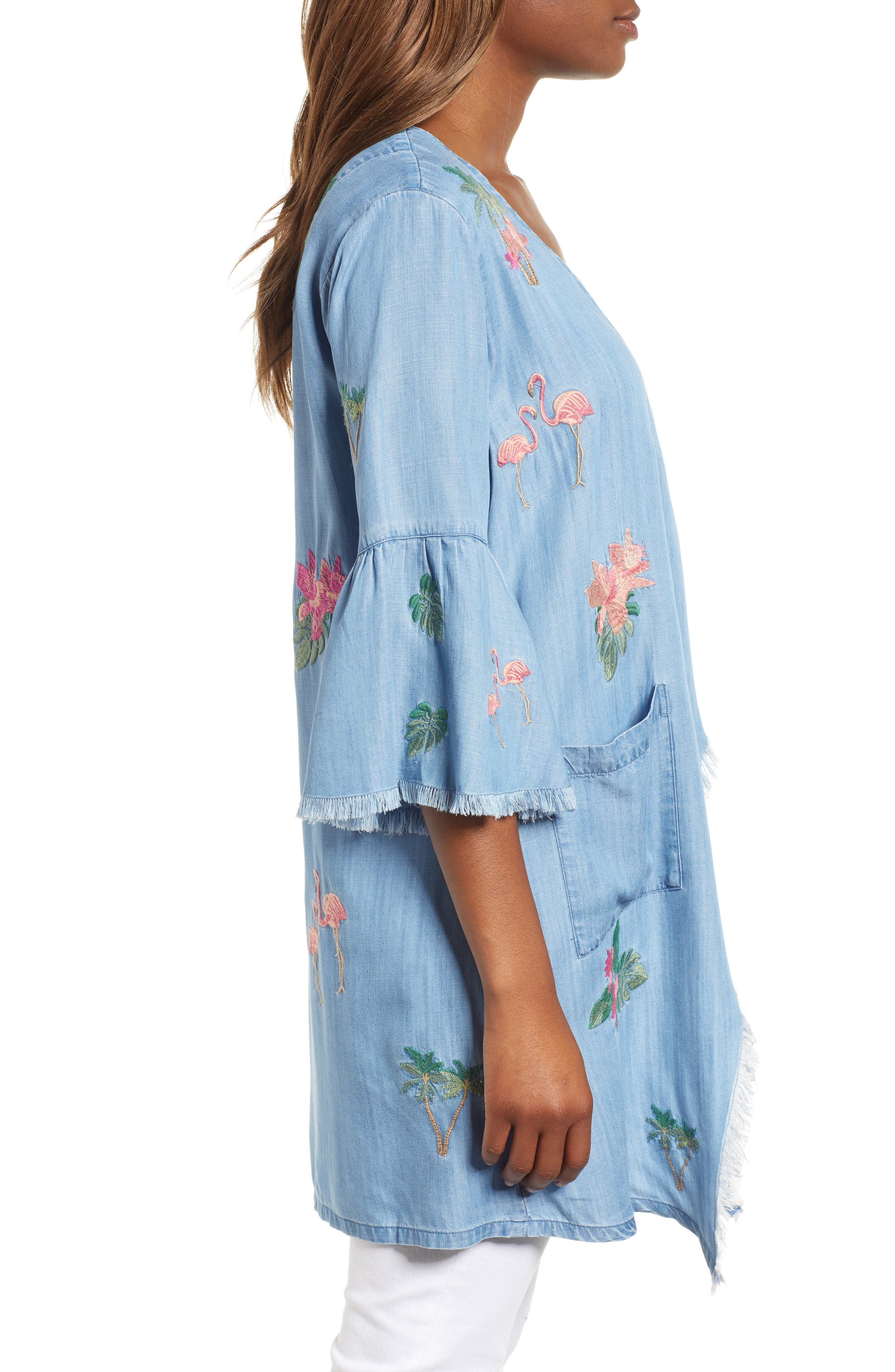 Flamingo Embroidered Chambray Kimono,                             Alternate thumbnail 3, color,                             421