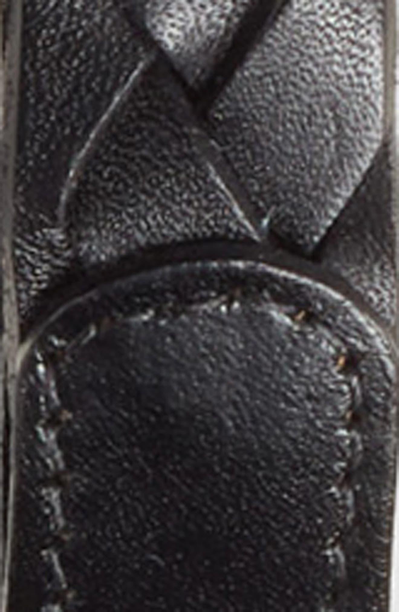 Braided Leather Belt,                             Alternate thumbnail 3, color,                             BLACK