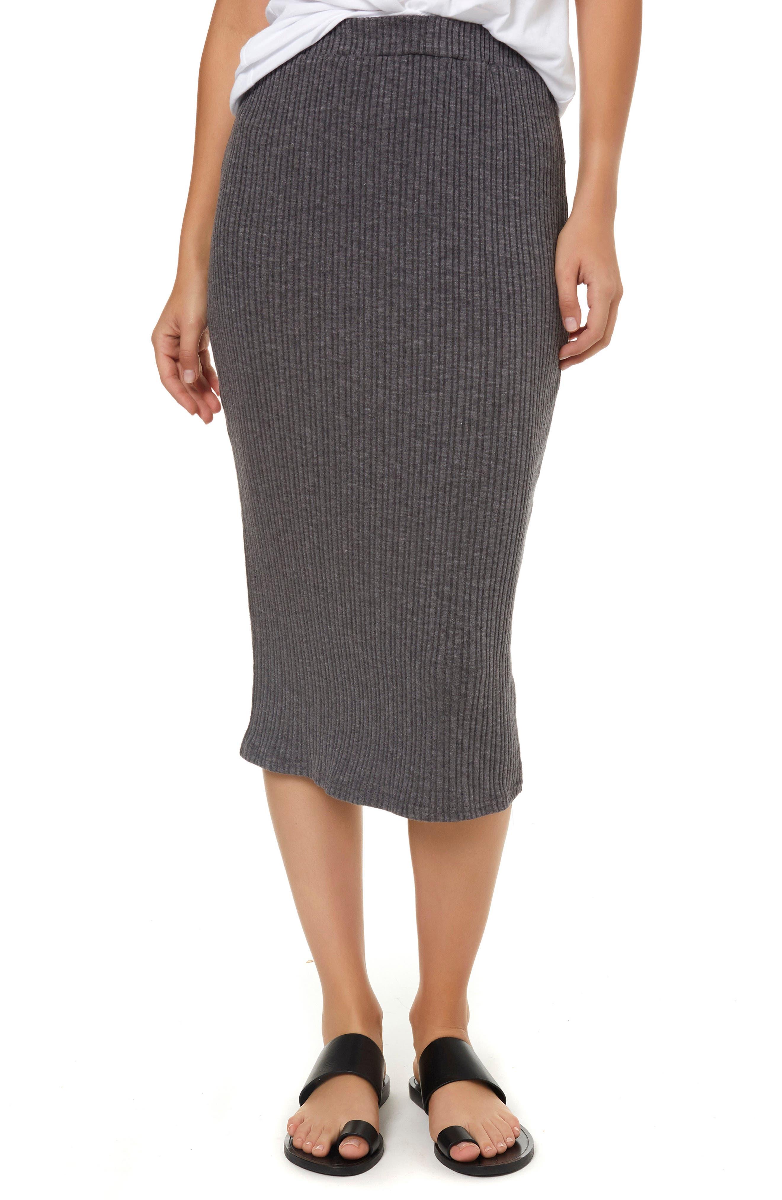 Candi Rib Knit Midi Skirt,                         Main,                         color, 020