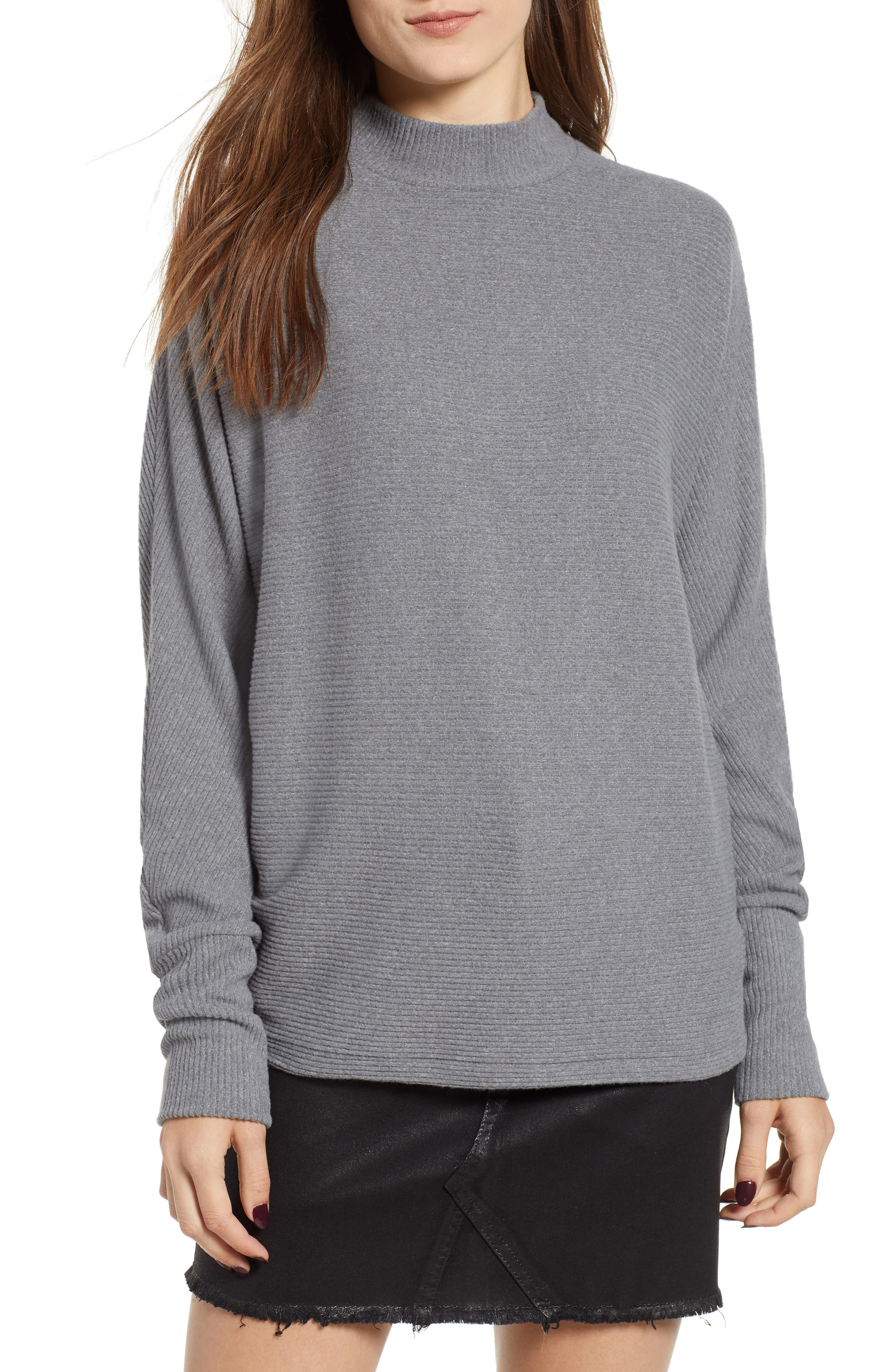 Dolman Sleeve Ribbed Top,                         Main,                         color, GREY CLOUDY HEATHER