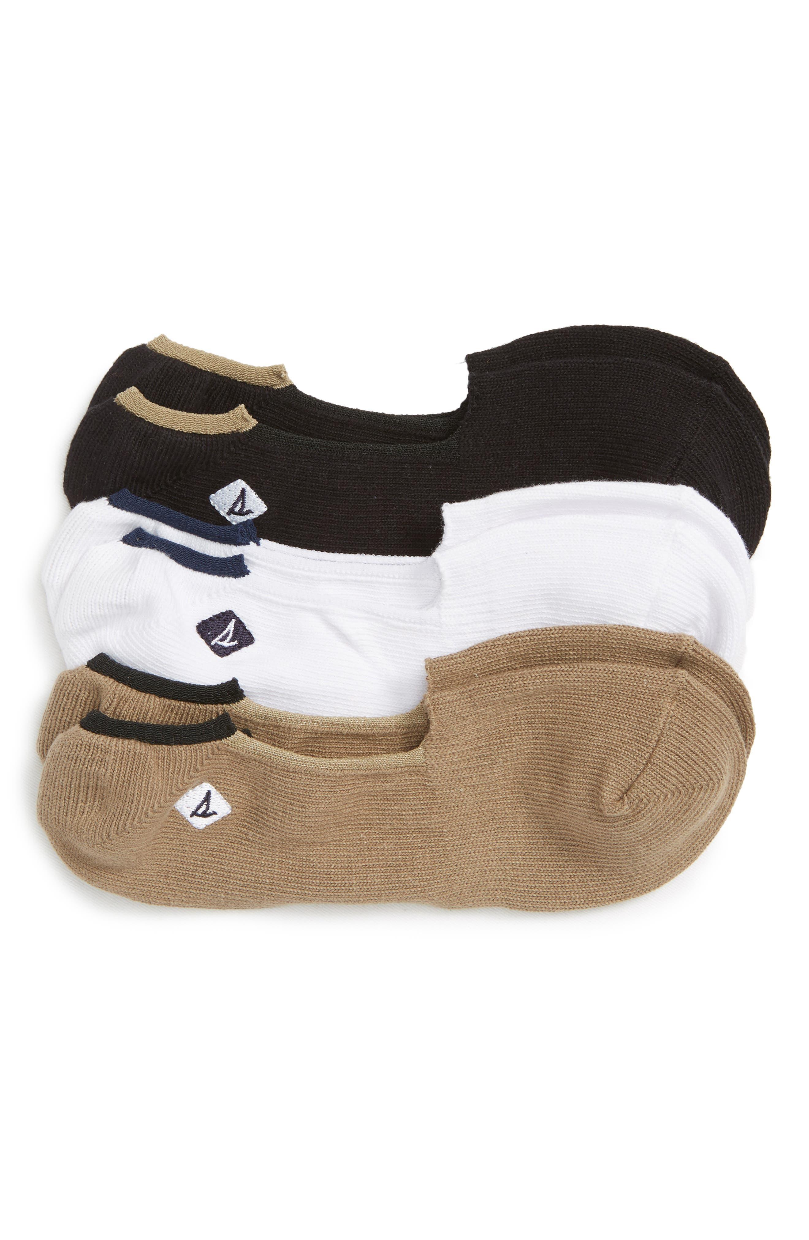 Skimmer 3-Pack Liner Socks,                         Main,                         color, BLACK/ TAUPE