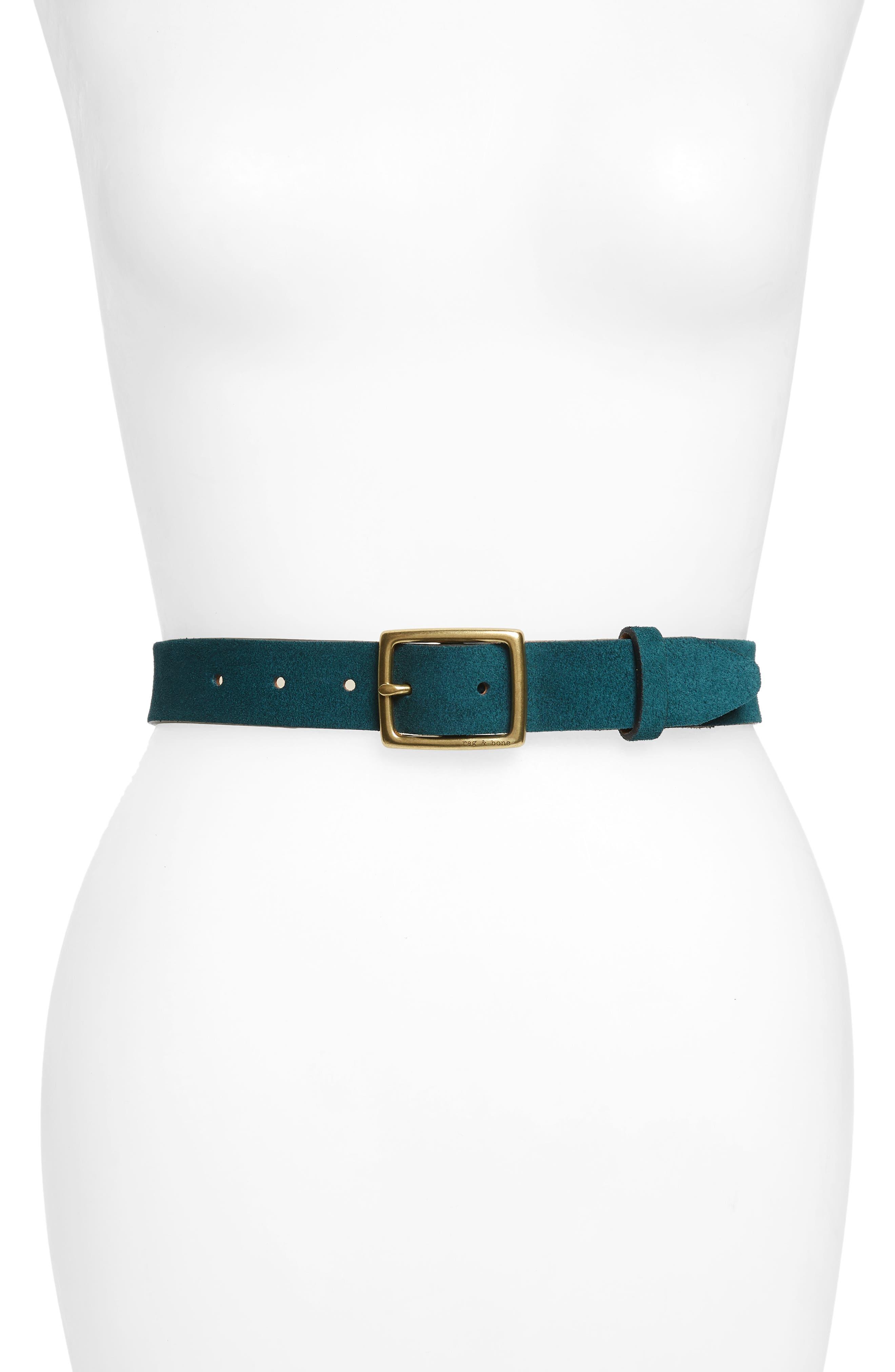 'Boyfriend' Leather Belt,                             Main thumbnail 1, color,                             FOREST SUEDE