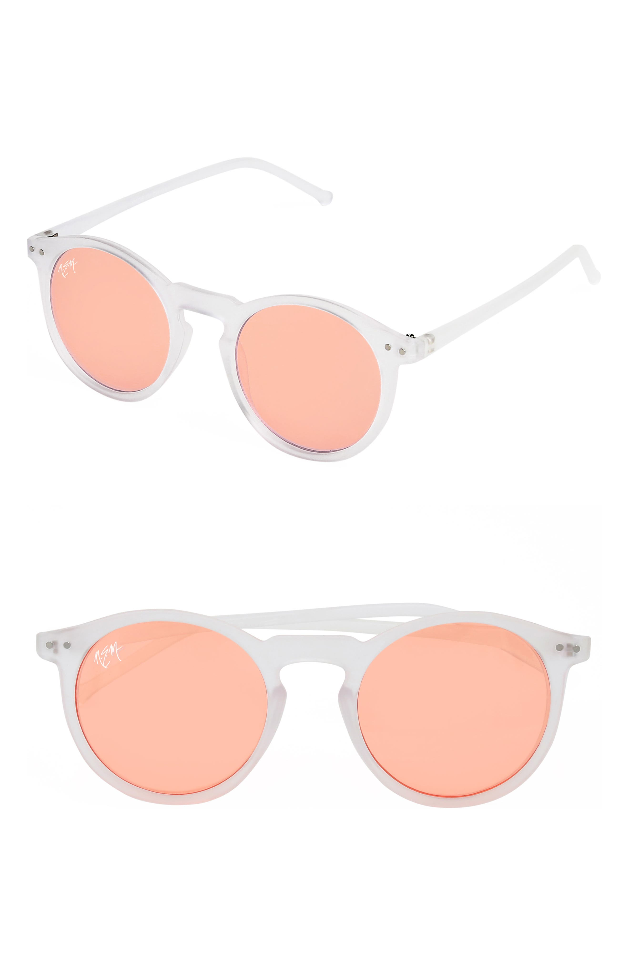 Nem 50Mm Mirrored Round Sunglasses - Clear Sky Blue/ Red Tint
