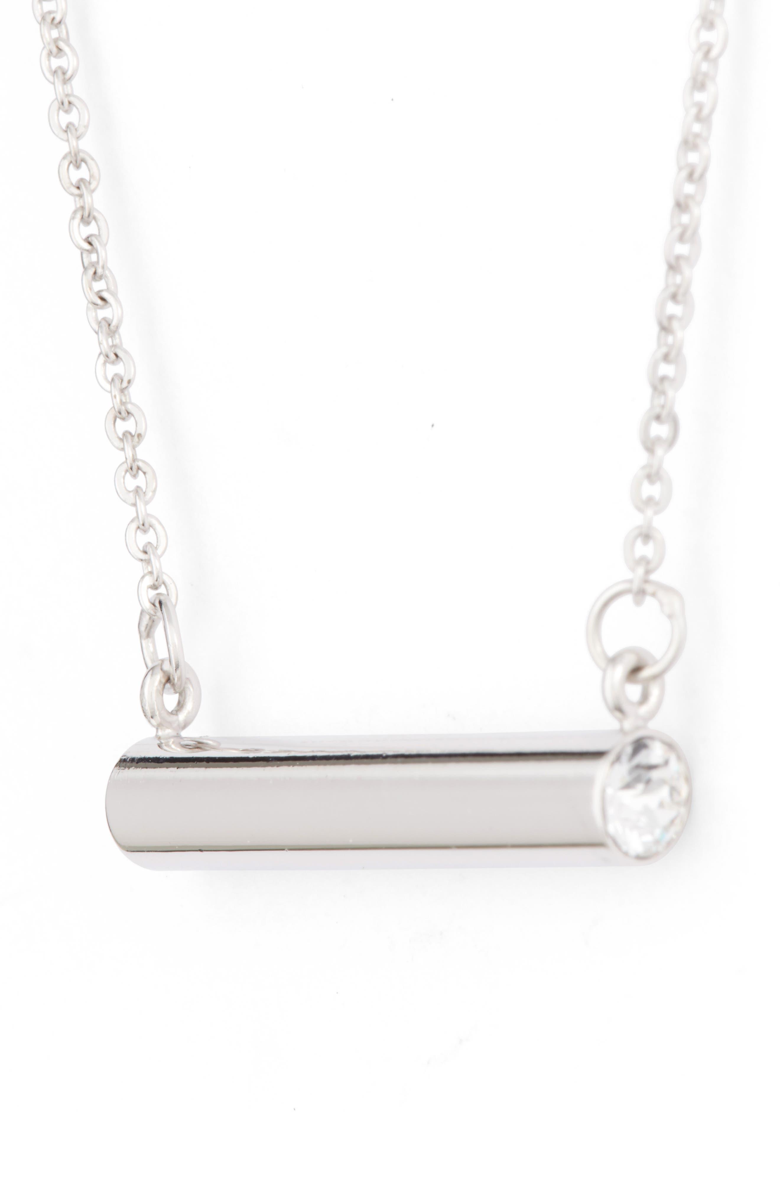 Stella Vale April Crystal Bar Pendant Necklace,                             Alternate thumbnail 3, color,                             040