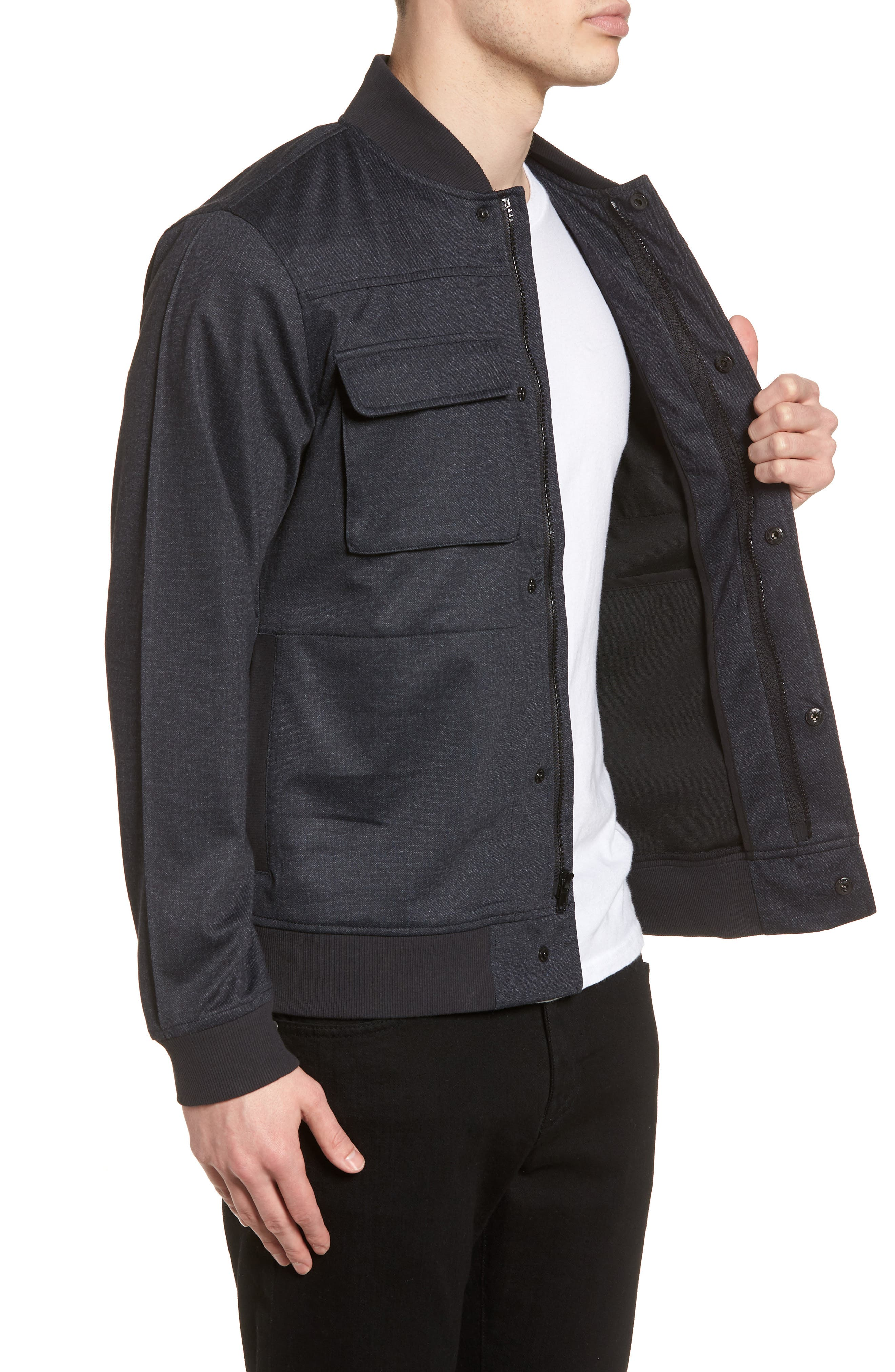 Lightweight Denim Bomber Jacket,                             Alternate thumbnail 3, color,                             410