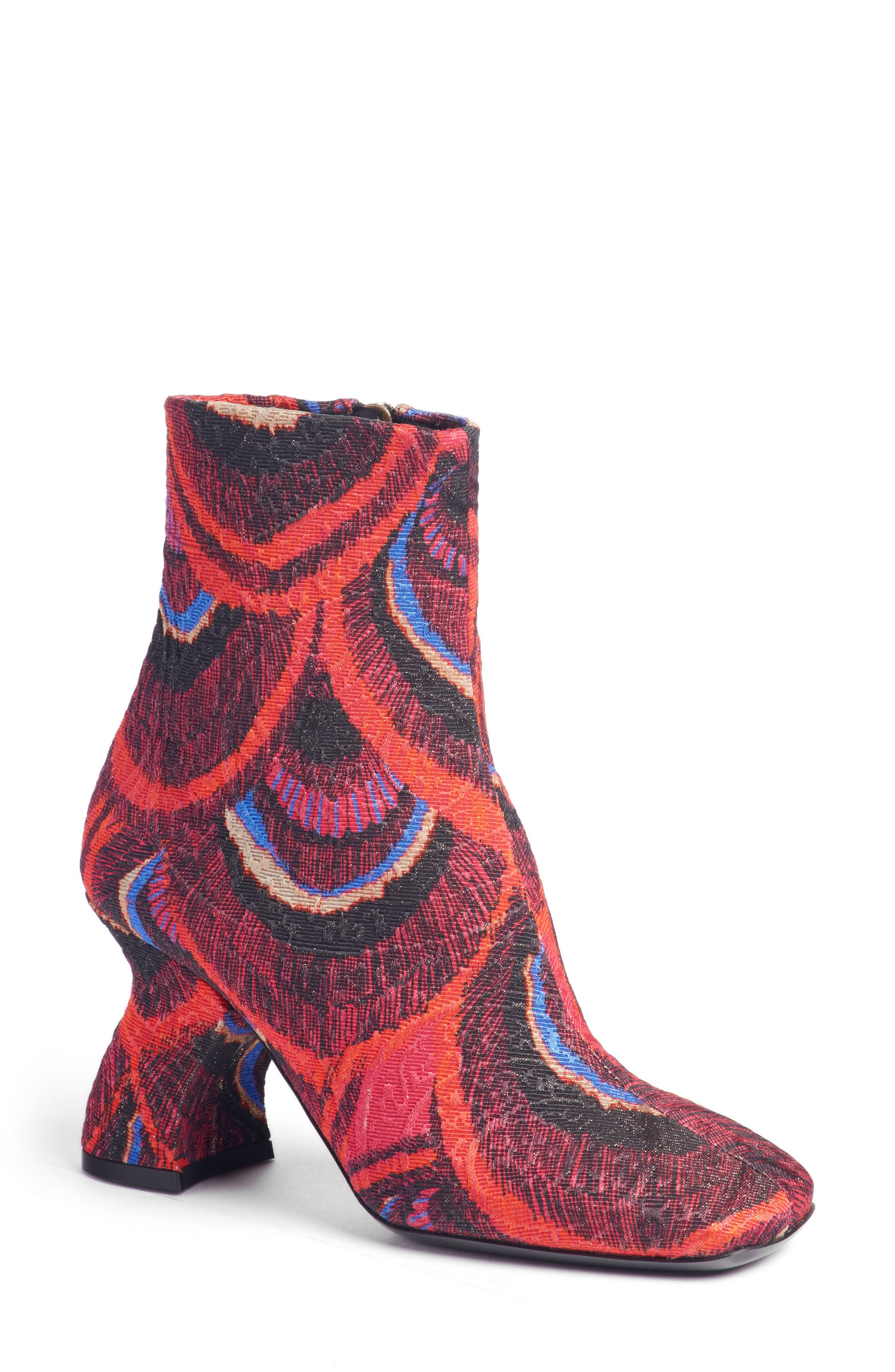Wave Heel Bootie,                             Main thumbnail 1, color,                             CHERRY