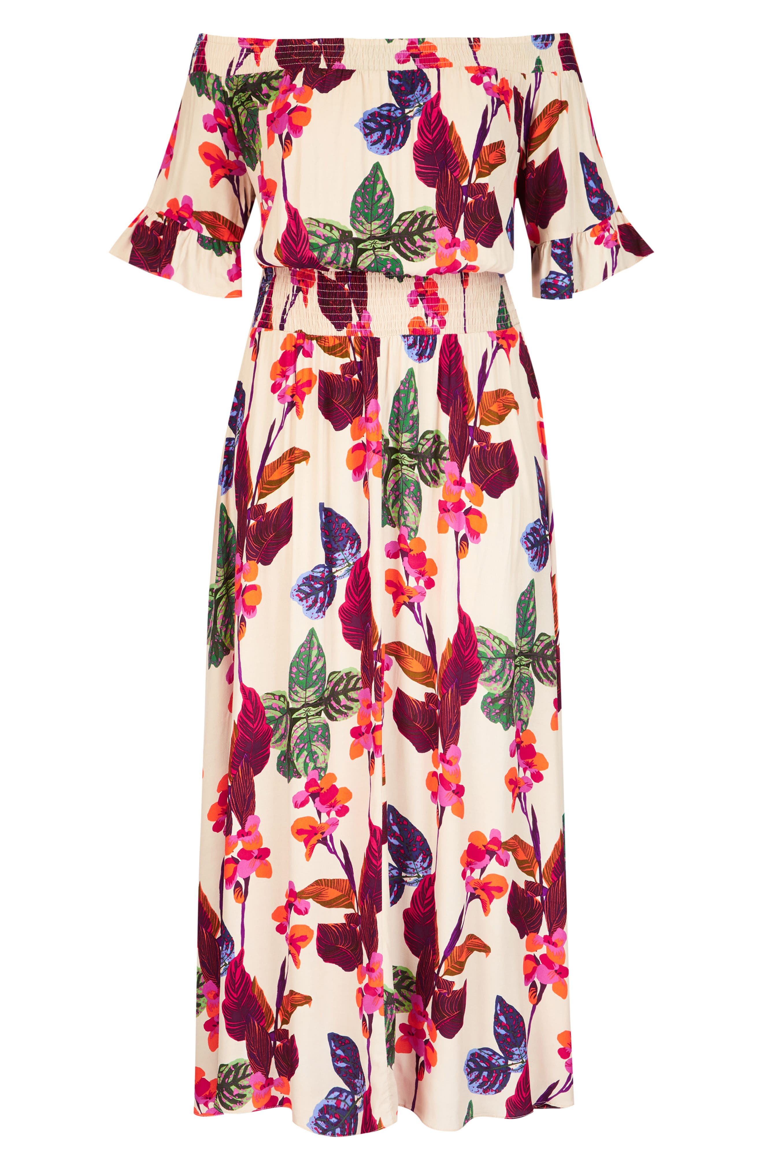 Tropical Print Maxi Dress,                             Alternate thumbnail 3, color,                             117
