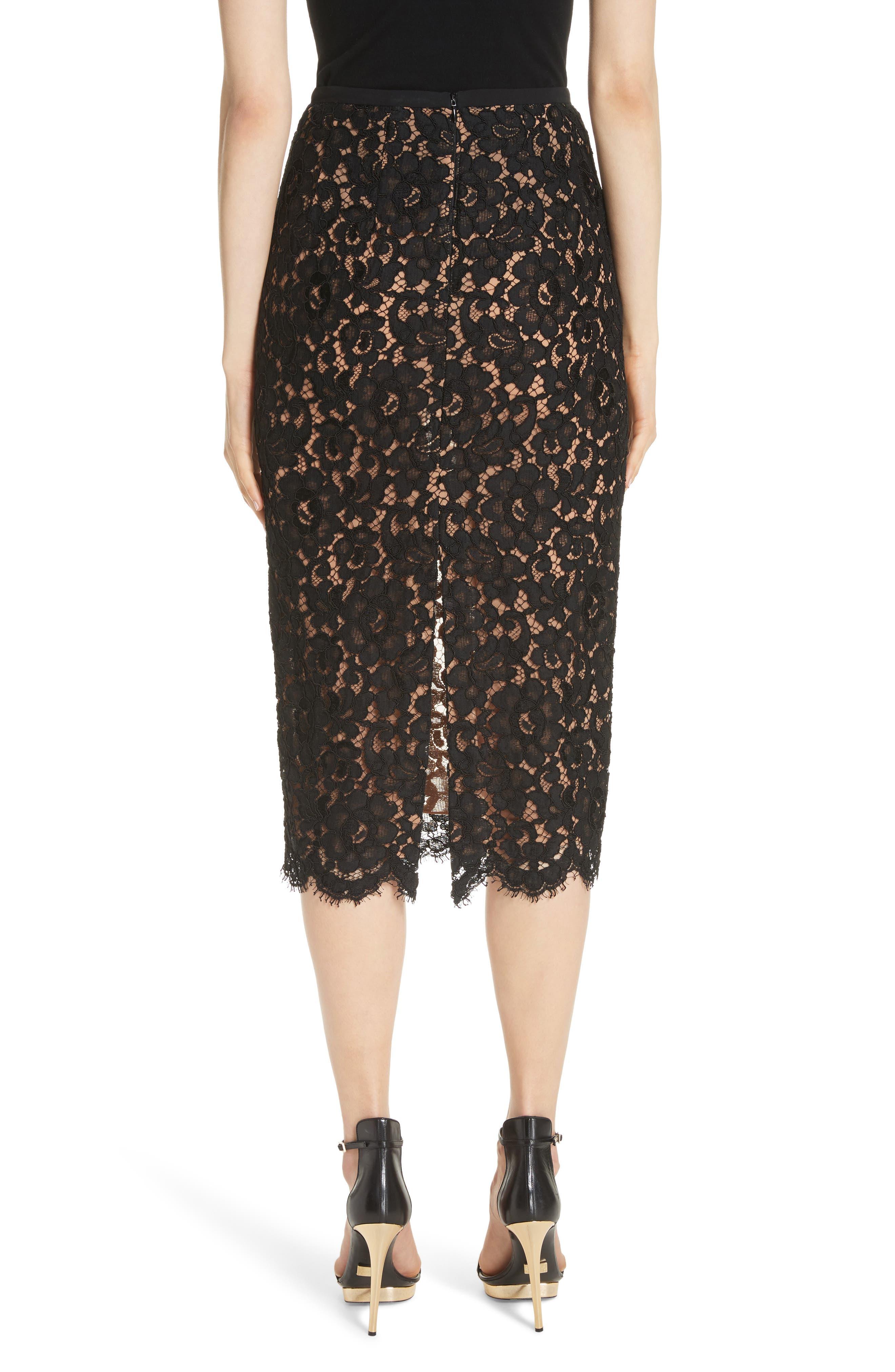 Lace Pencil Skirt,                             Alternate thumbnail 2, color,                             BLACK