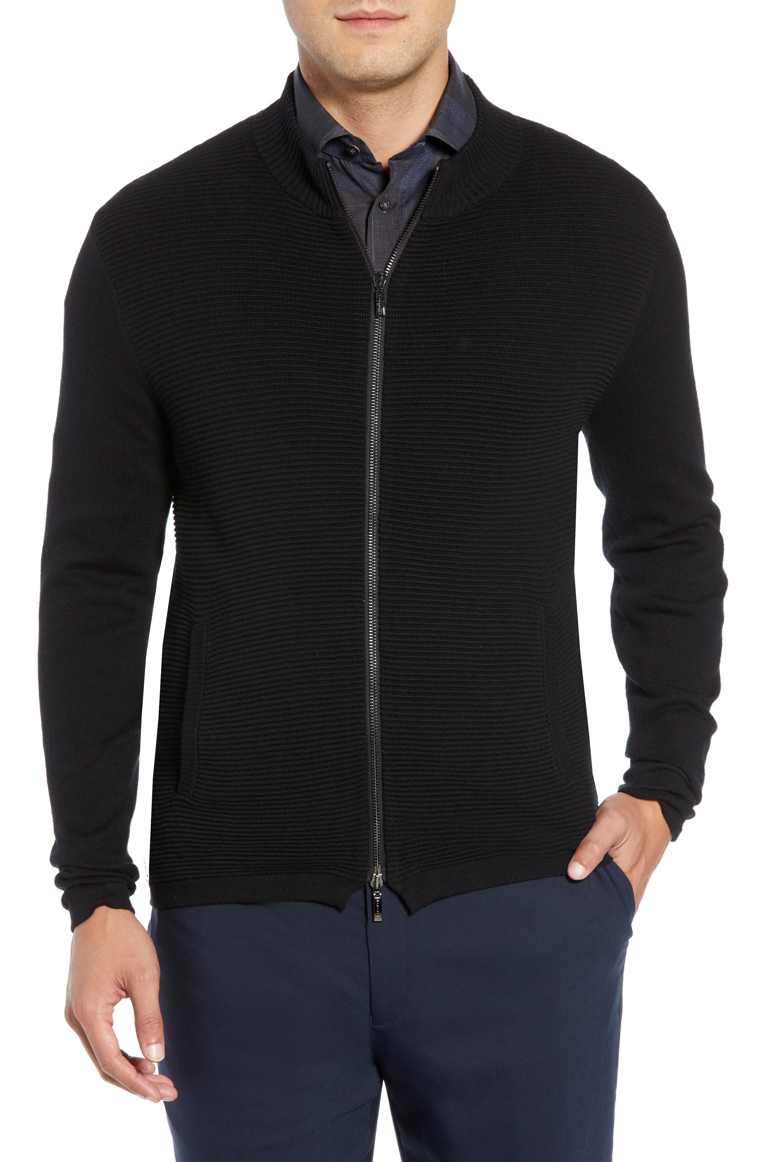 Yorkville Zip Sweater,                         Main,                         color, BLACK