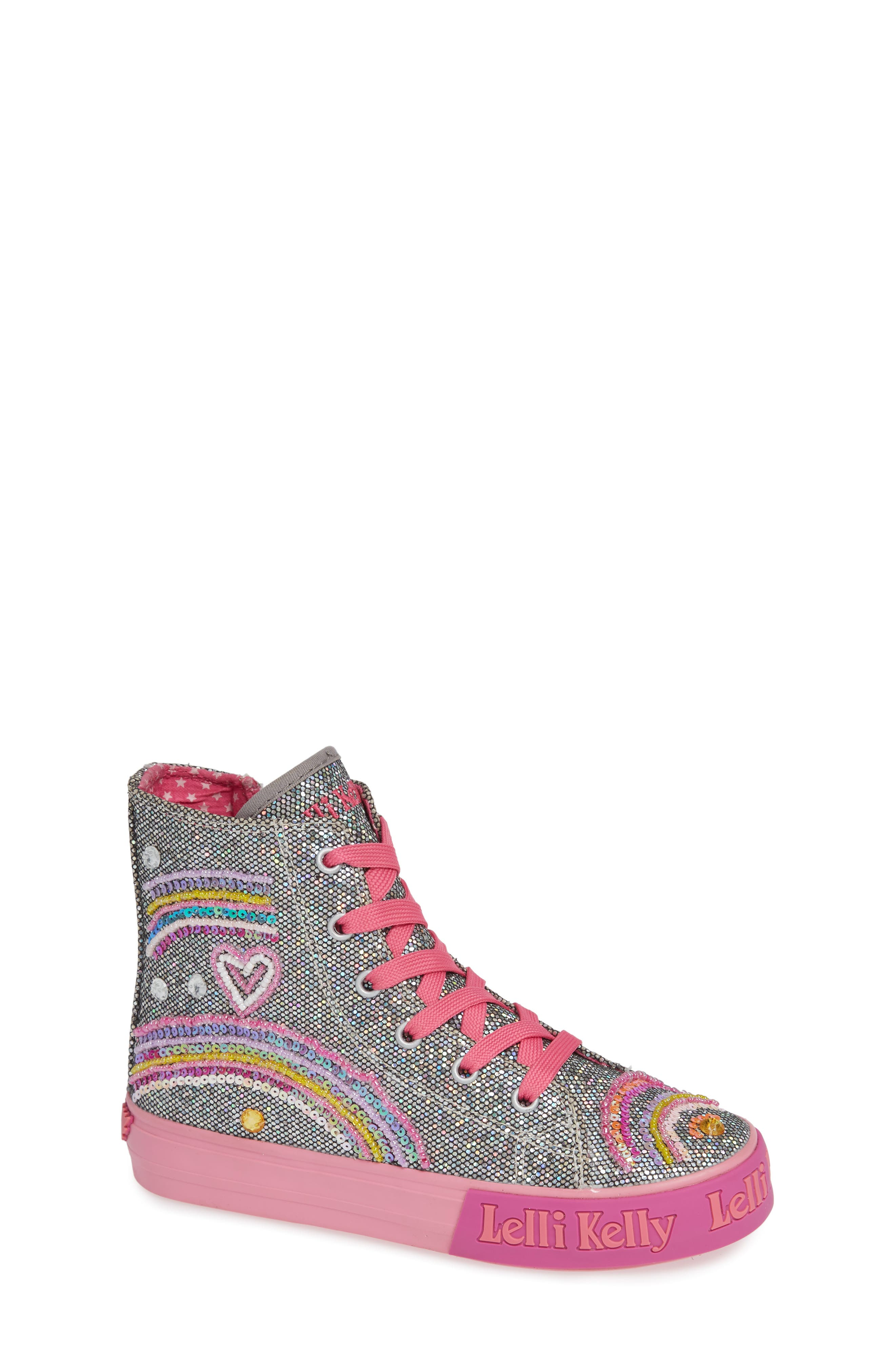 Beaded High Top Sneaker,                             Main thumbnail 1, color,                             PEWTER