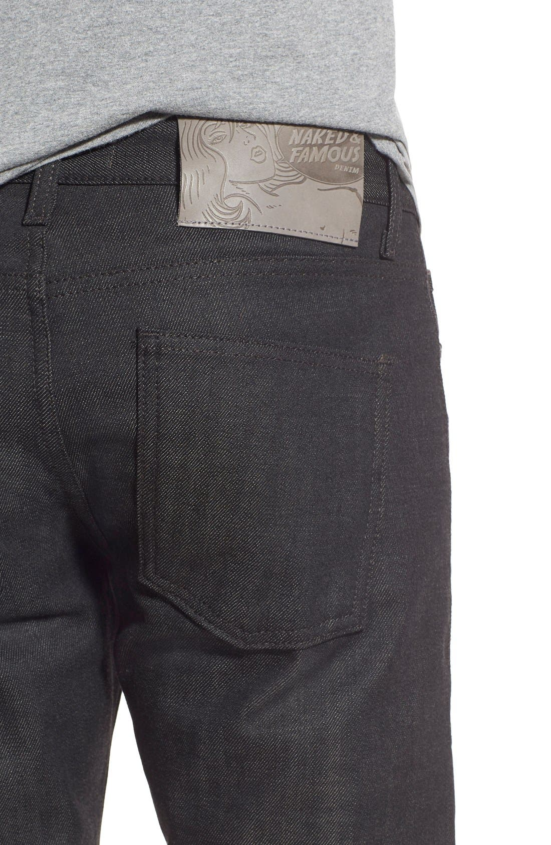 Naked & Famous Super Skinny Guy Skinny Fit Stretch Jeans,                             Alternate thumbnail 5, color,                             BLACK X GREY