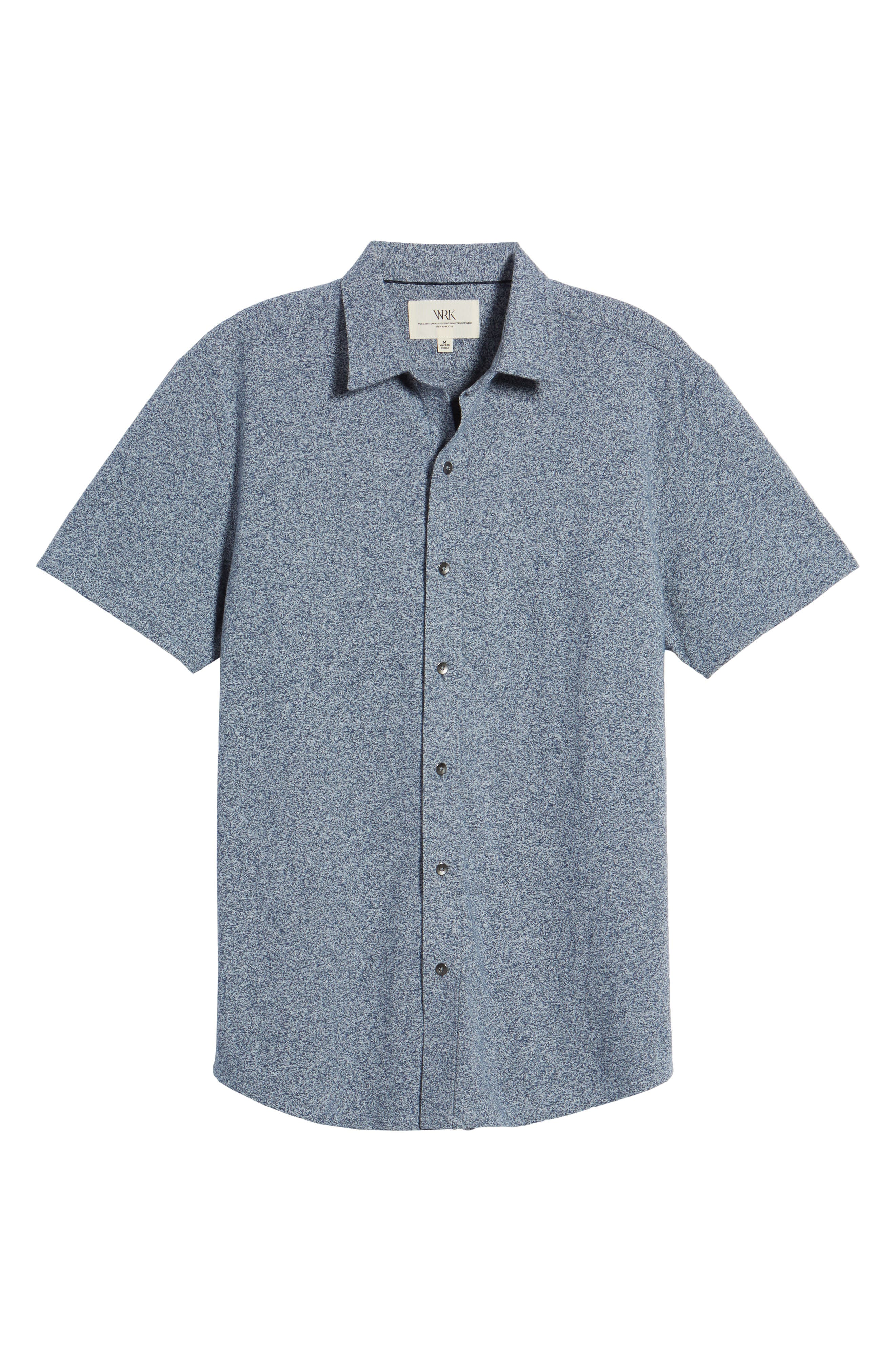 'Metropolitan' Knit Short Sleeve Sport Shirt,                             Alternate thumbnail 6, color,                             NAVY/ WHITE