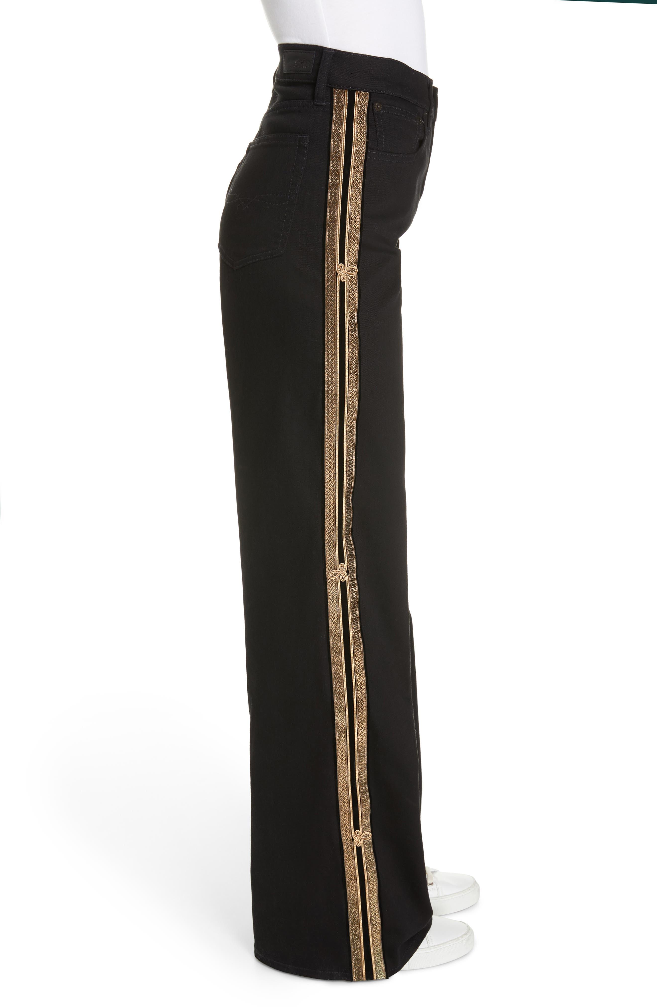 Wide Leg Denim Pants,                             Alternate thumbnail 3, color,                             BLACK